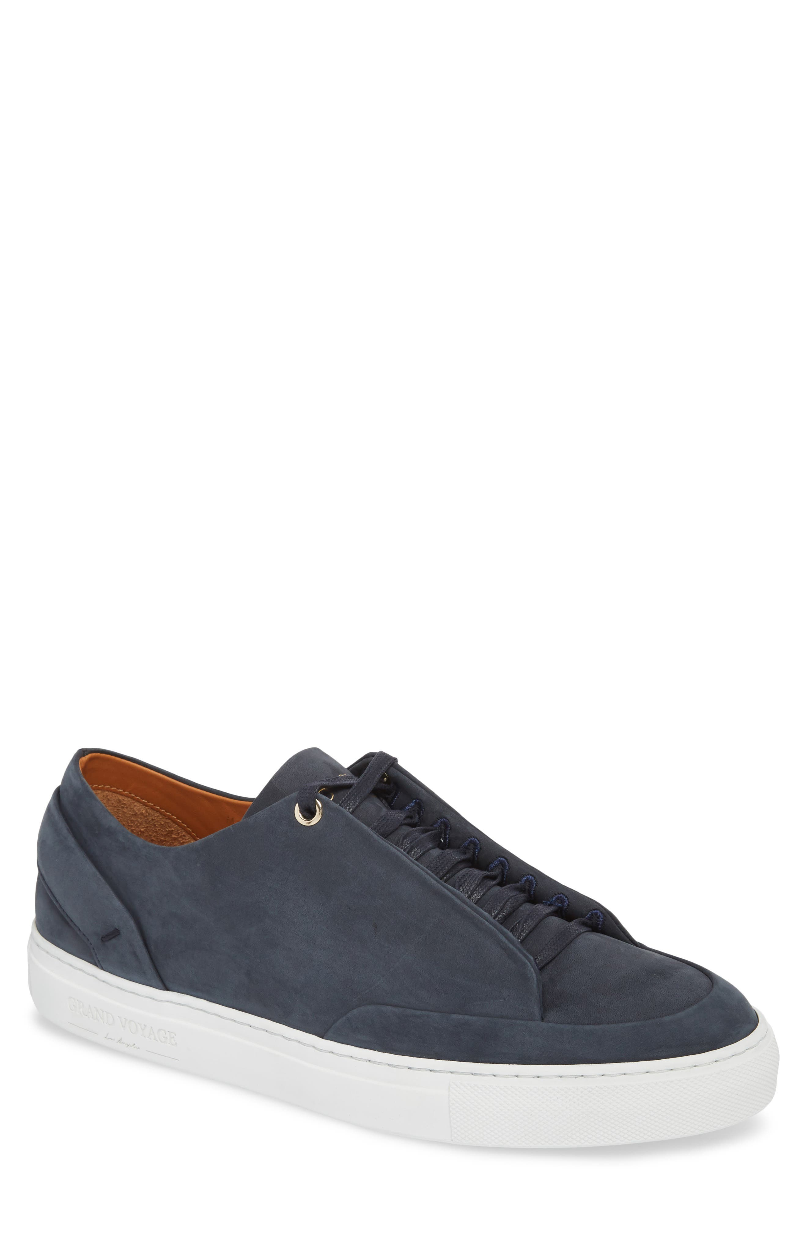 Avedon Sneaker,                         Main,                         color, Navy Nubuck Leather
