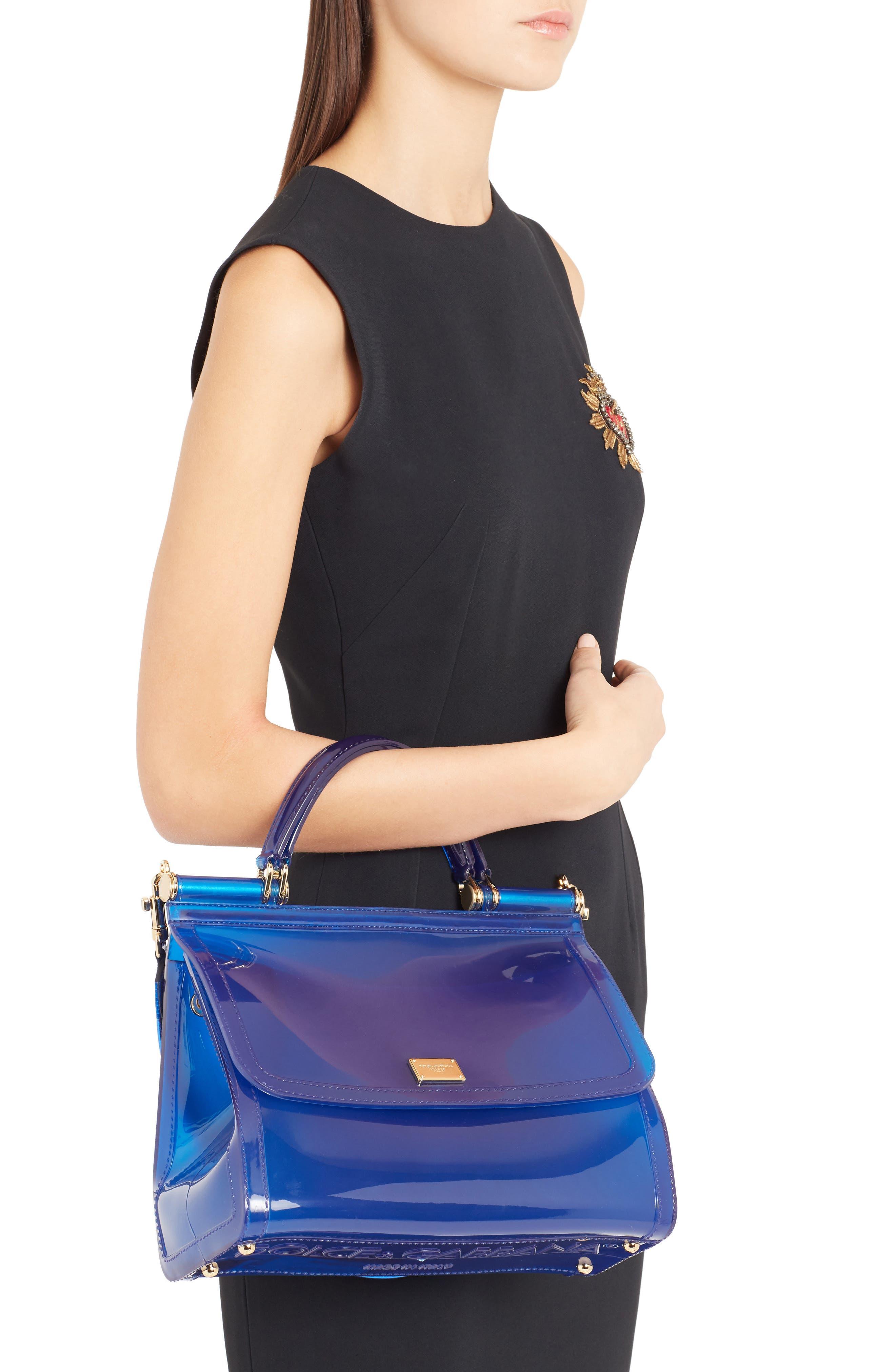 Medium Miss Sicily PVC Satchel,                             Alternate thumbnail 2, color,                             Blue Multi