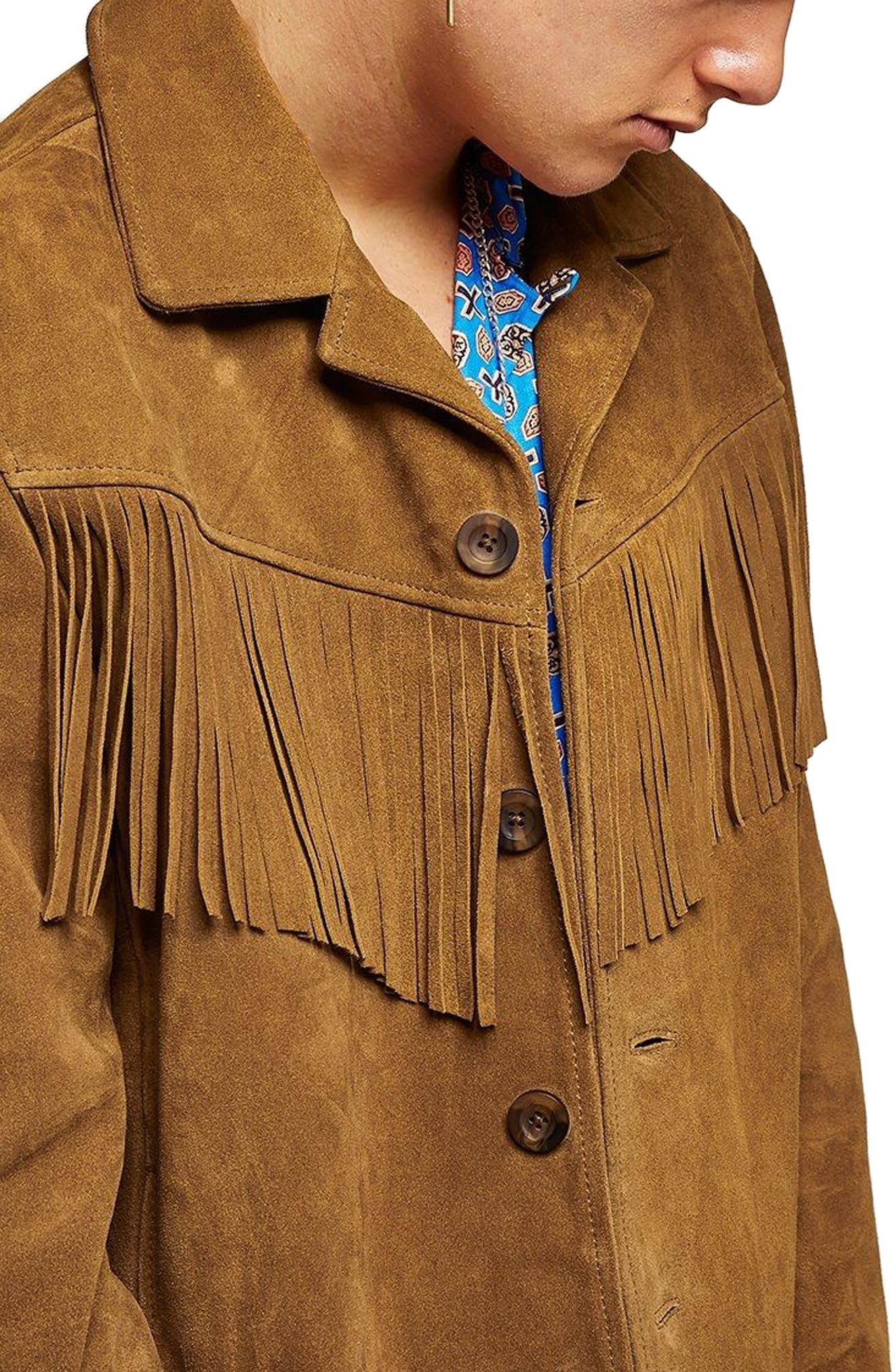 Fringed Suede Western Jacket,                             Main thumbnail 1, color,                             Brown