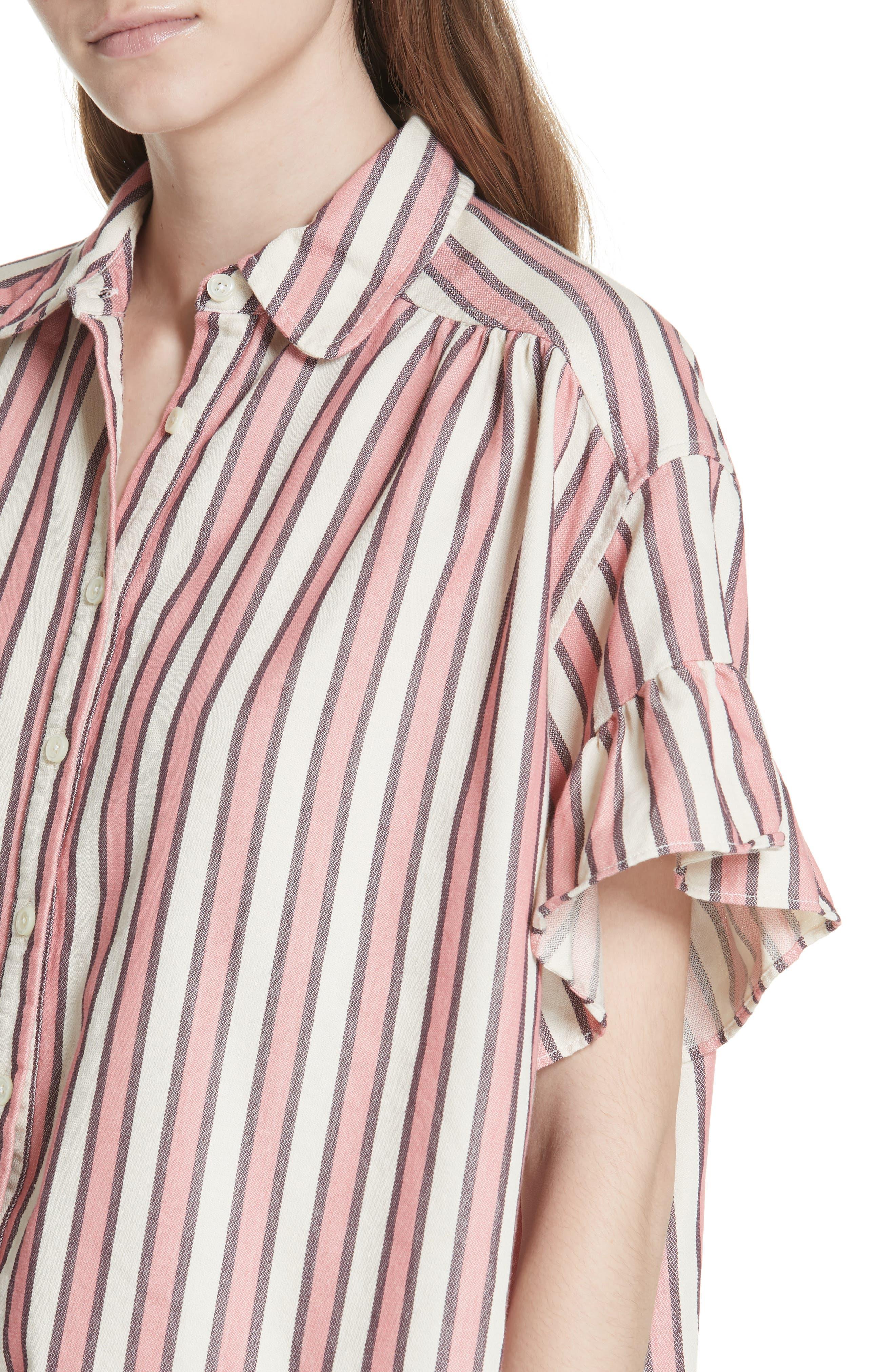 Flutter Sleeve Stripe Shirt,                             Alternate thumbnail 5, color,                             Pink Taffy Stripe
