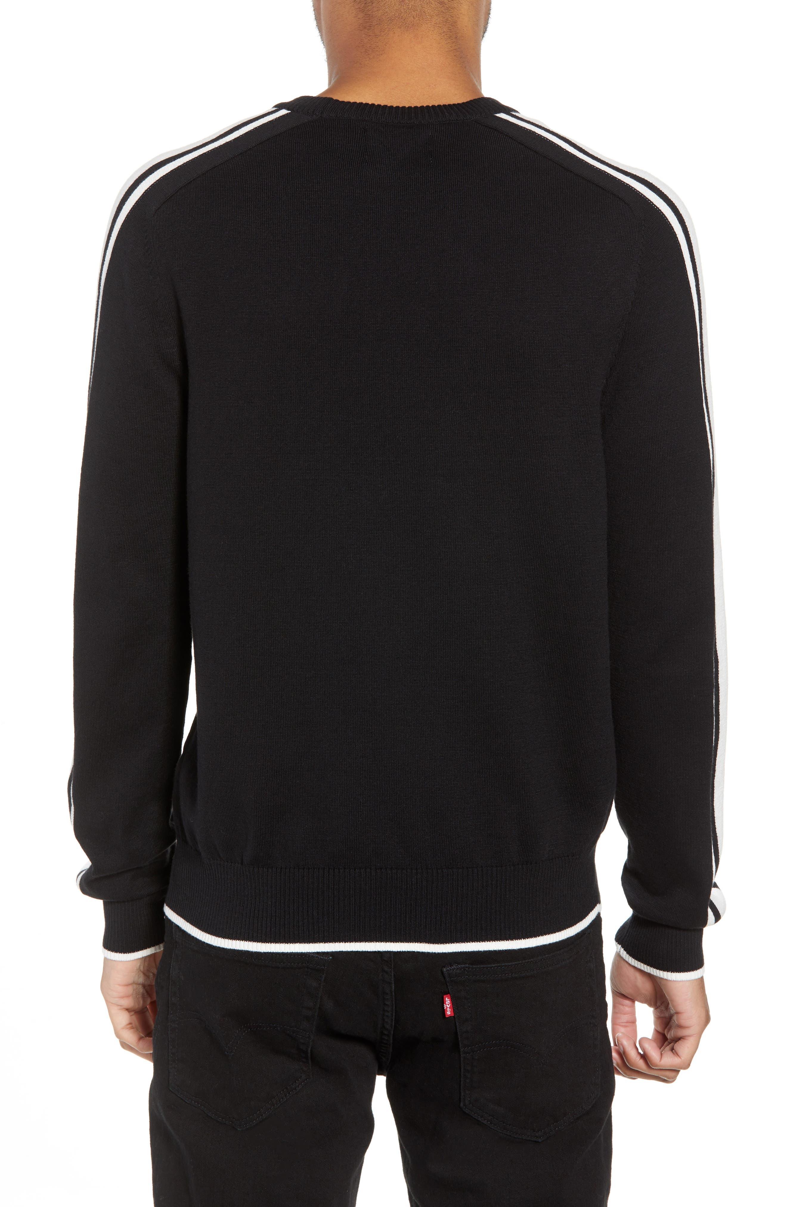 Stripe Sleeve Sweater,                             Alternate thumbnail 2, color,                             Black