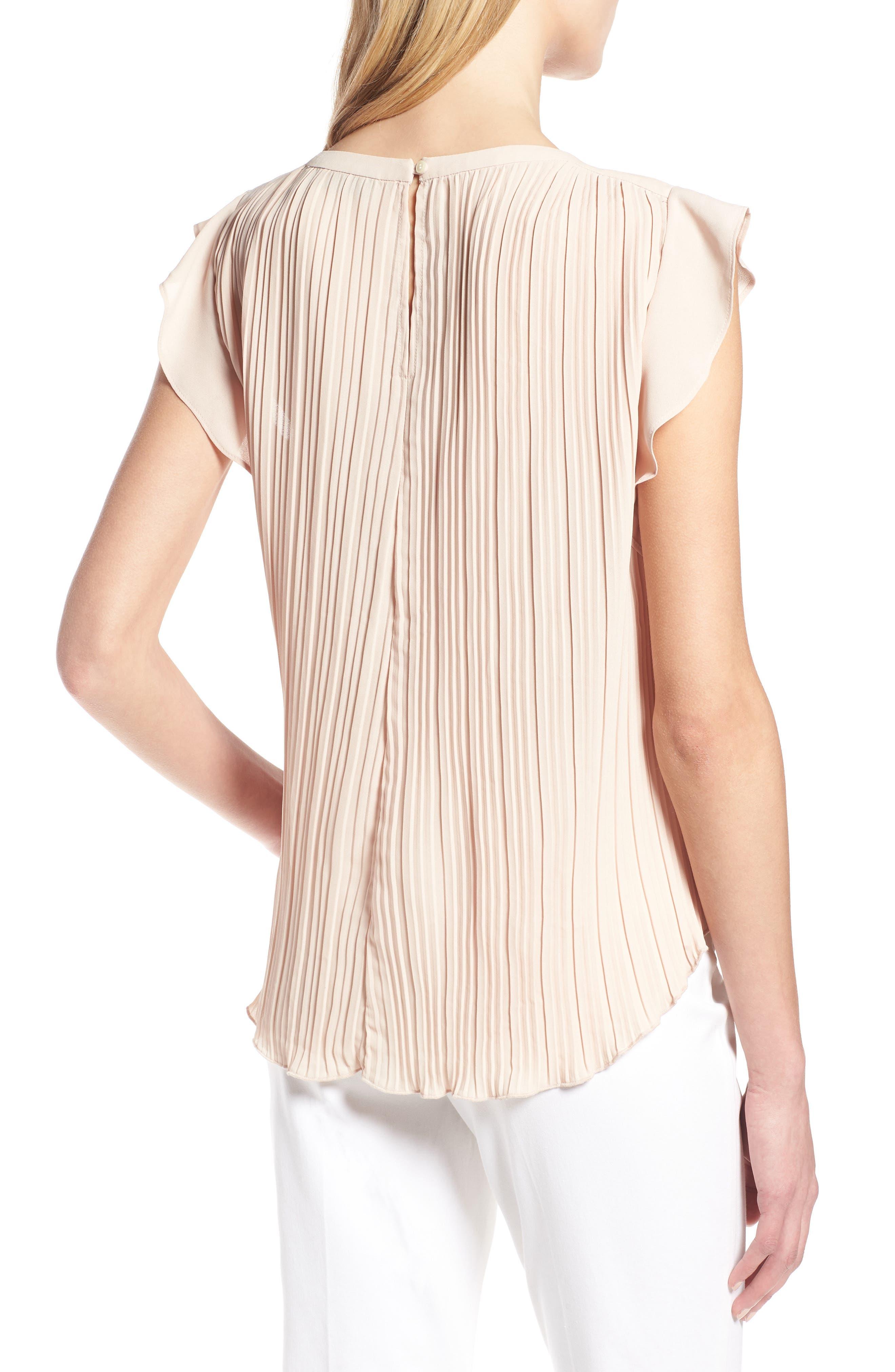 Mini Pleat Ruffle Sleeve Blouse,                             Alternate thumbnail 2, color,                             Tan