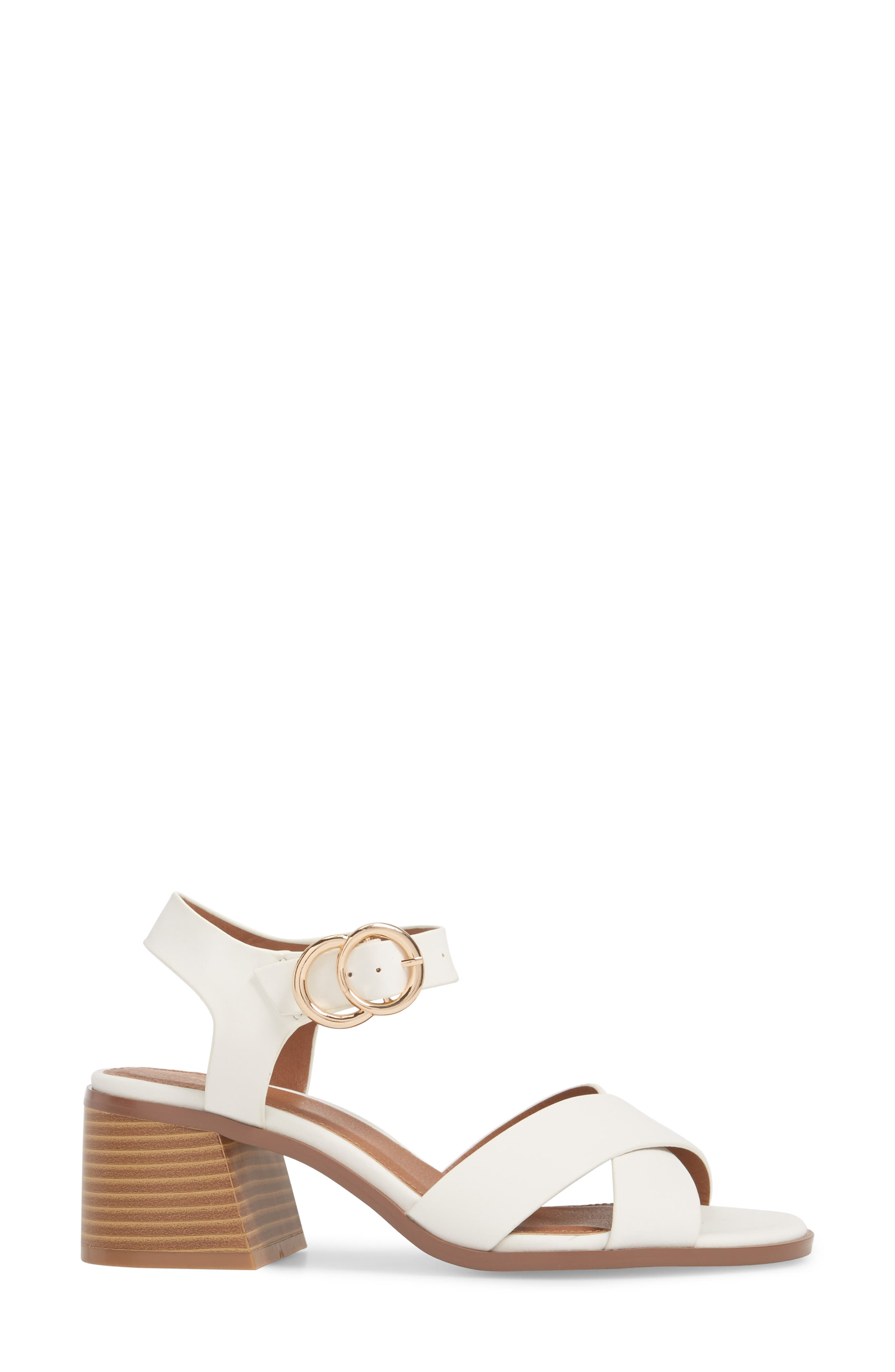 Dee Dee Block Heel Sandal,                             Alternate thumbnail 3, color,                             White Multi
