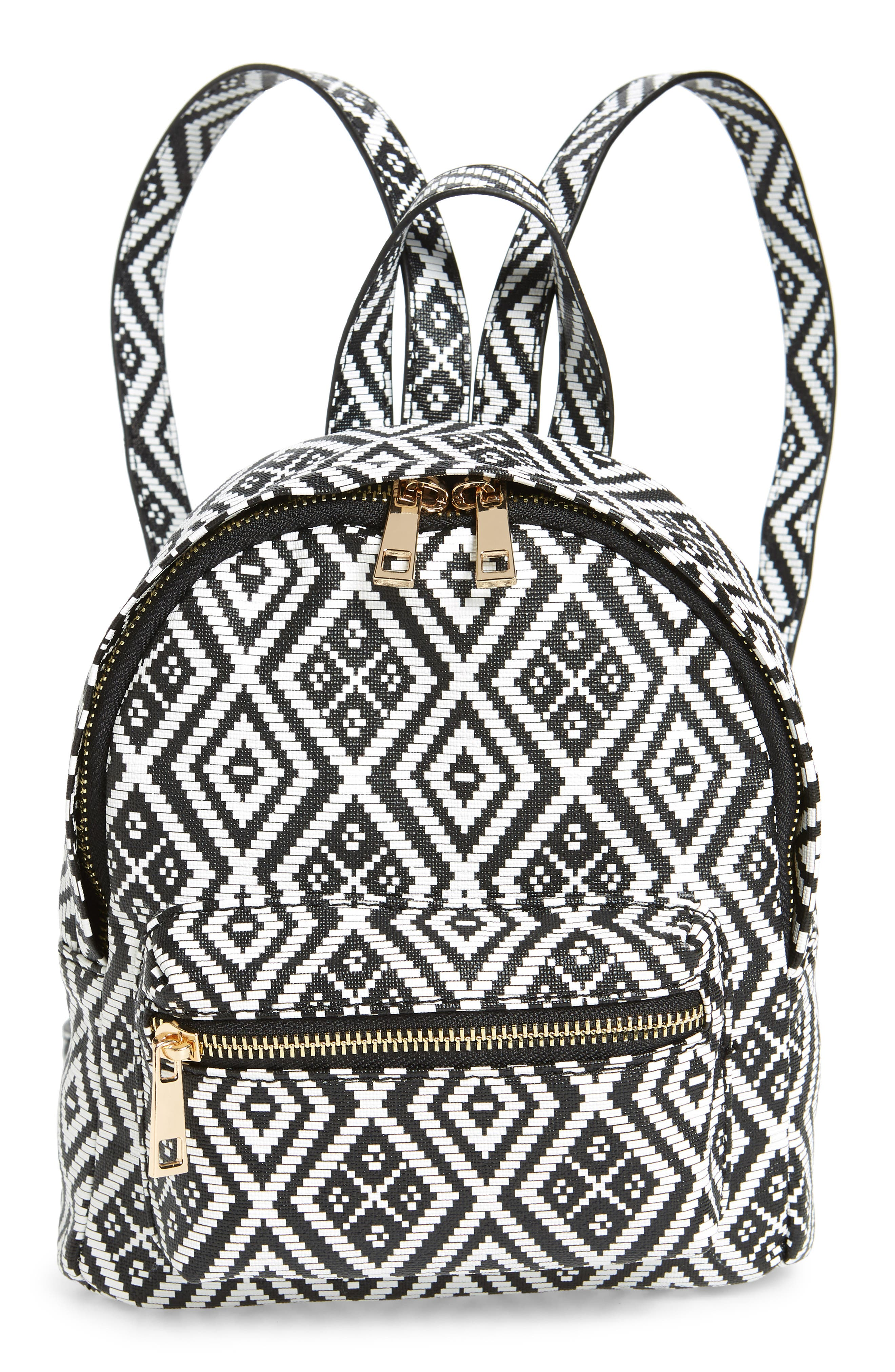 Weave Pattern Faux Leather Mini Backpack,                             Main thumbnail 1, color,                             Black/ White