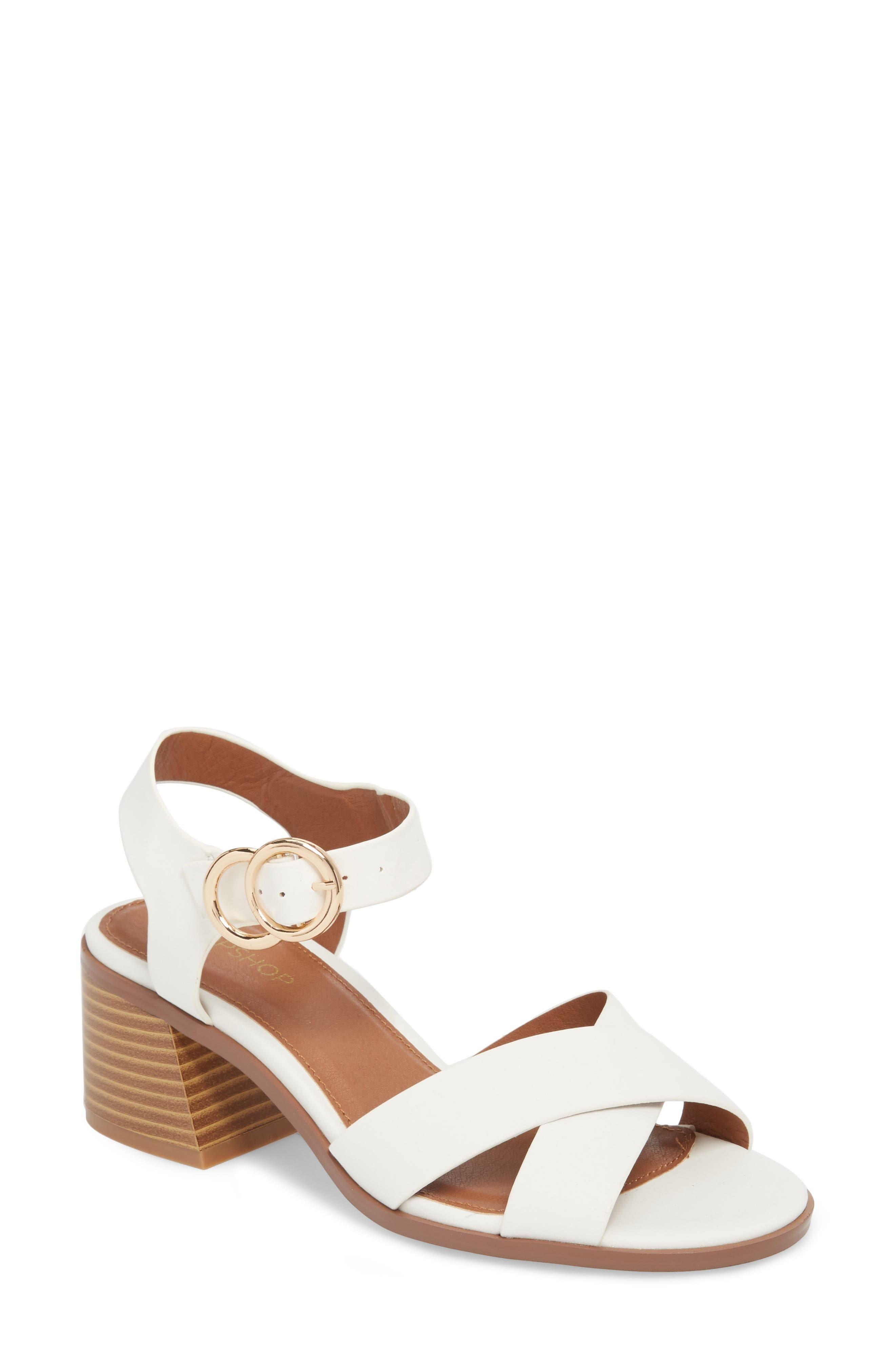 Dee Dee Block Heel Sandal,                         Main,                         color, White Multi