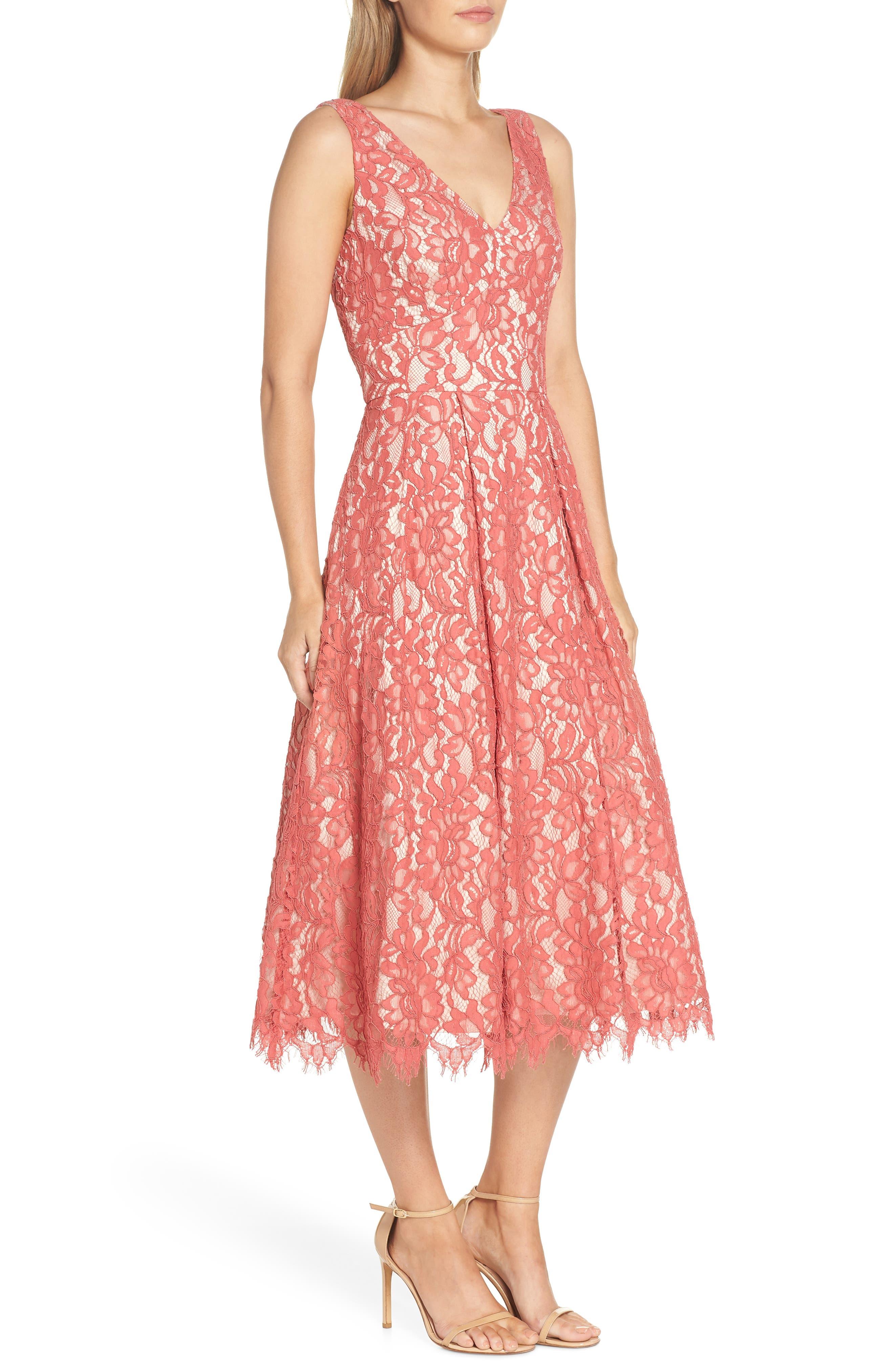 V-Neck Lace Midi Dress,                             Alternate thumbnail 3, color,                             Rose