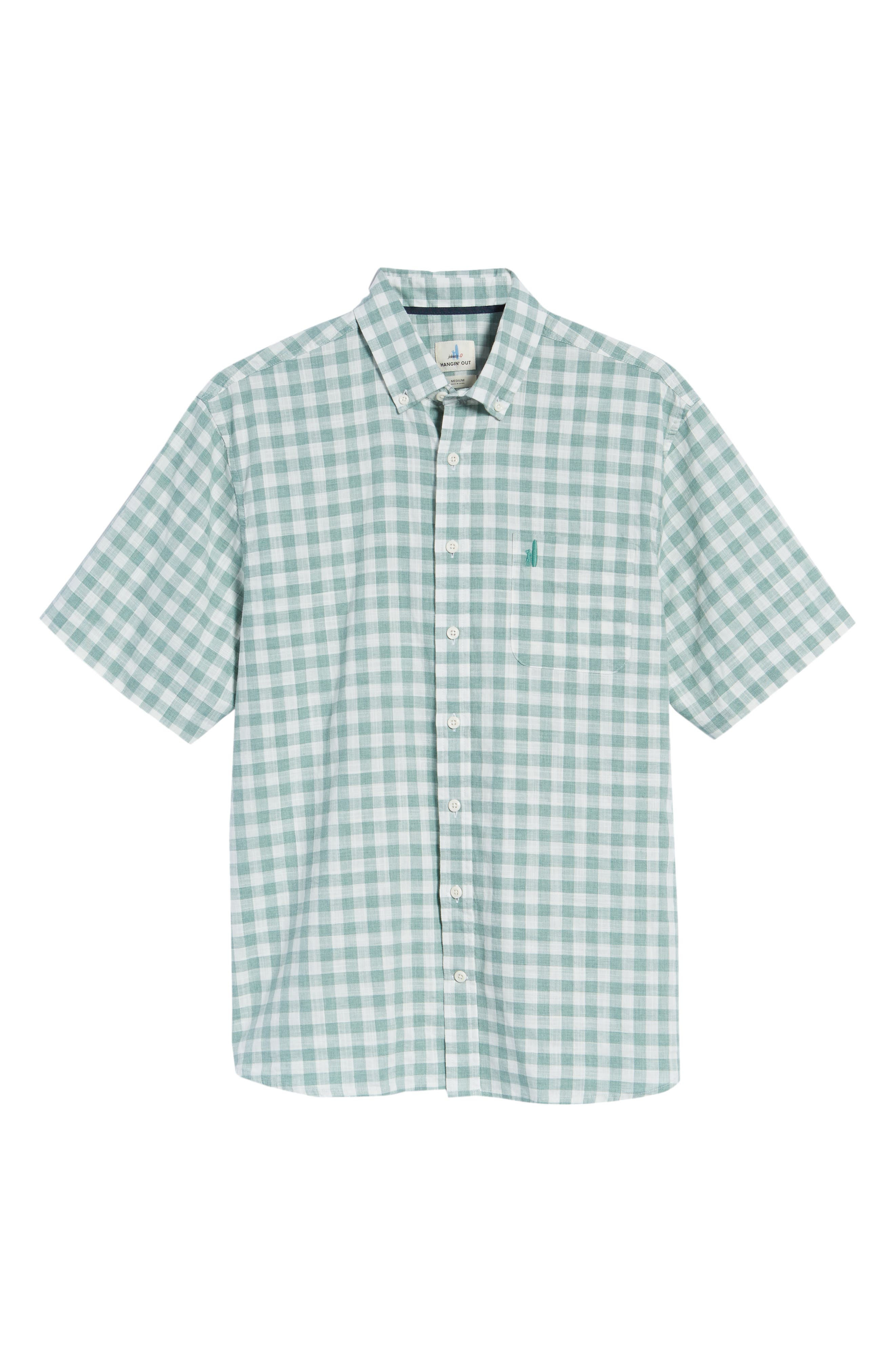 Watts Classic Fit Gingham Sport Shirt,                             Alternate thumbnail 6, color,                             Clover
