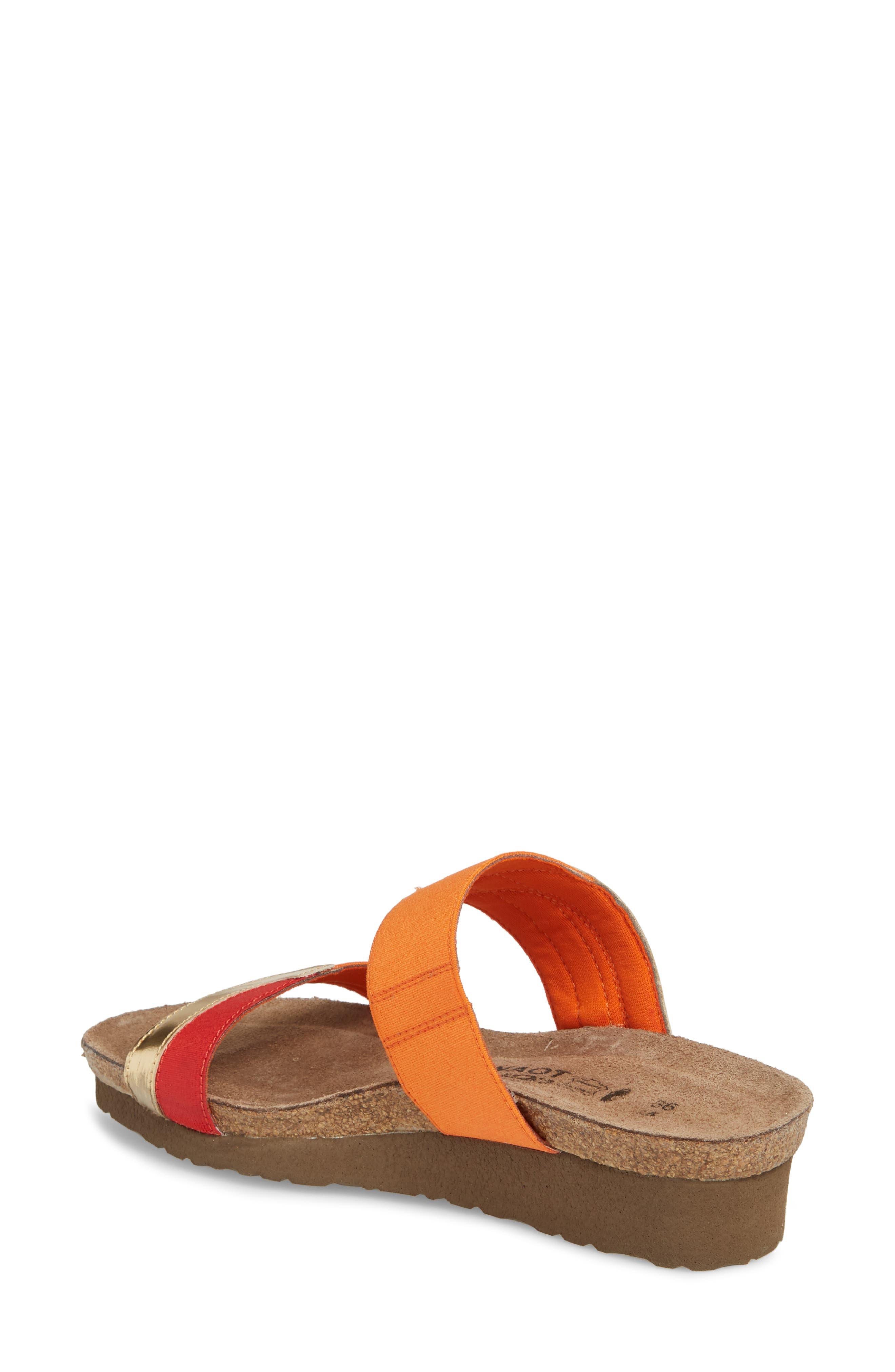 Frankie Slide Sandal,                             Alternate thumbnail 2, color,                             Red/ Orange/ Gold Leather