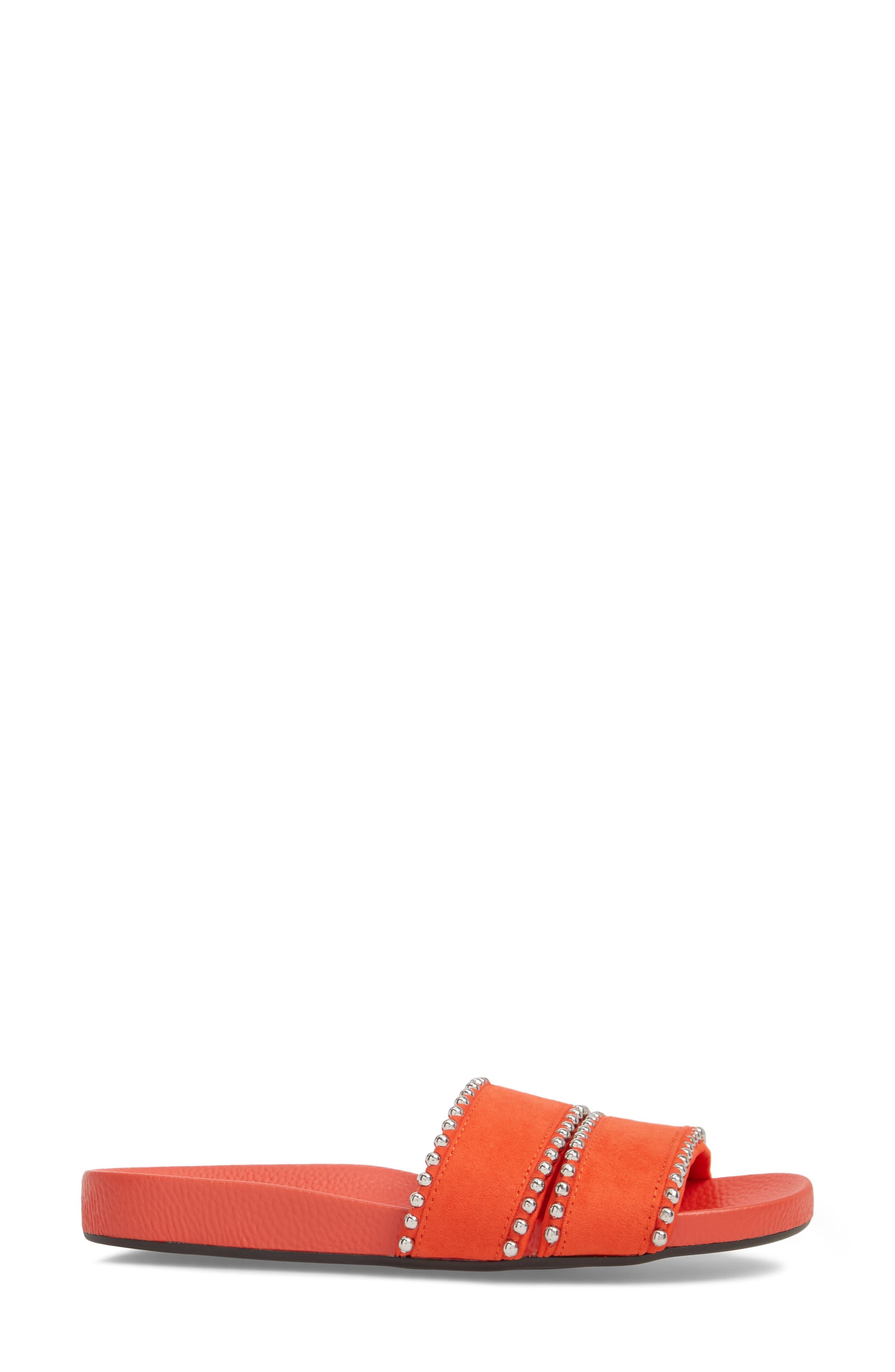Rascal Studded Slide Sandal,                             Alternate thumbnail 3, color,                             Red