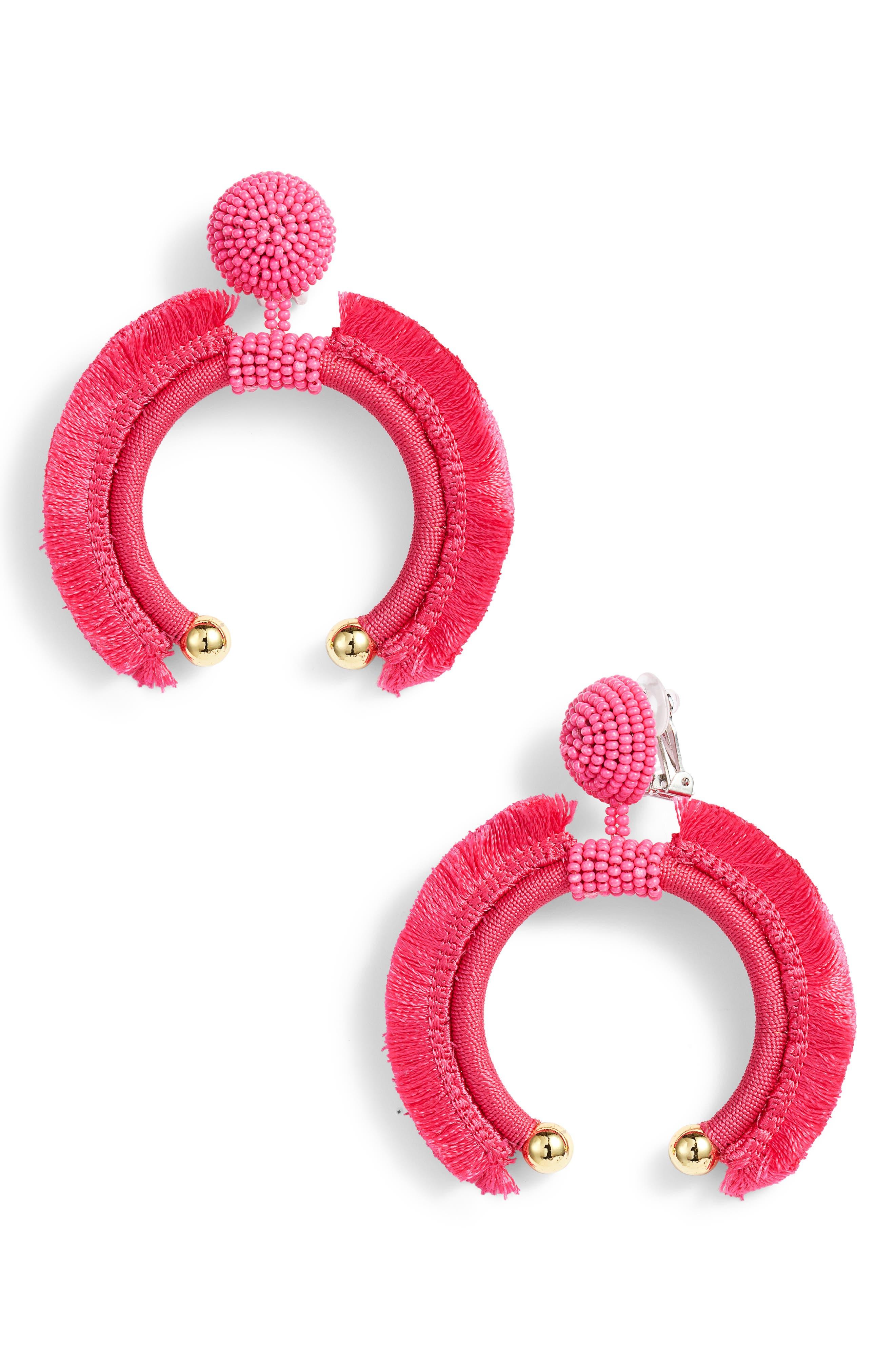 Eclipse Fringe Drop Earrings,                             Main thumbnail 1, color,                             Fuchsia