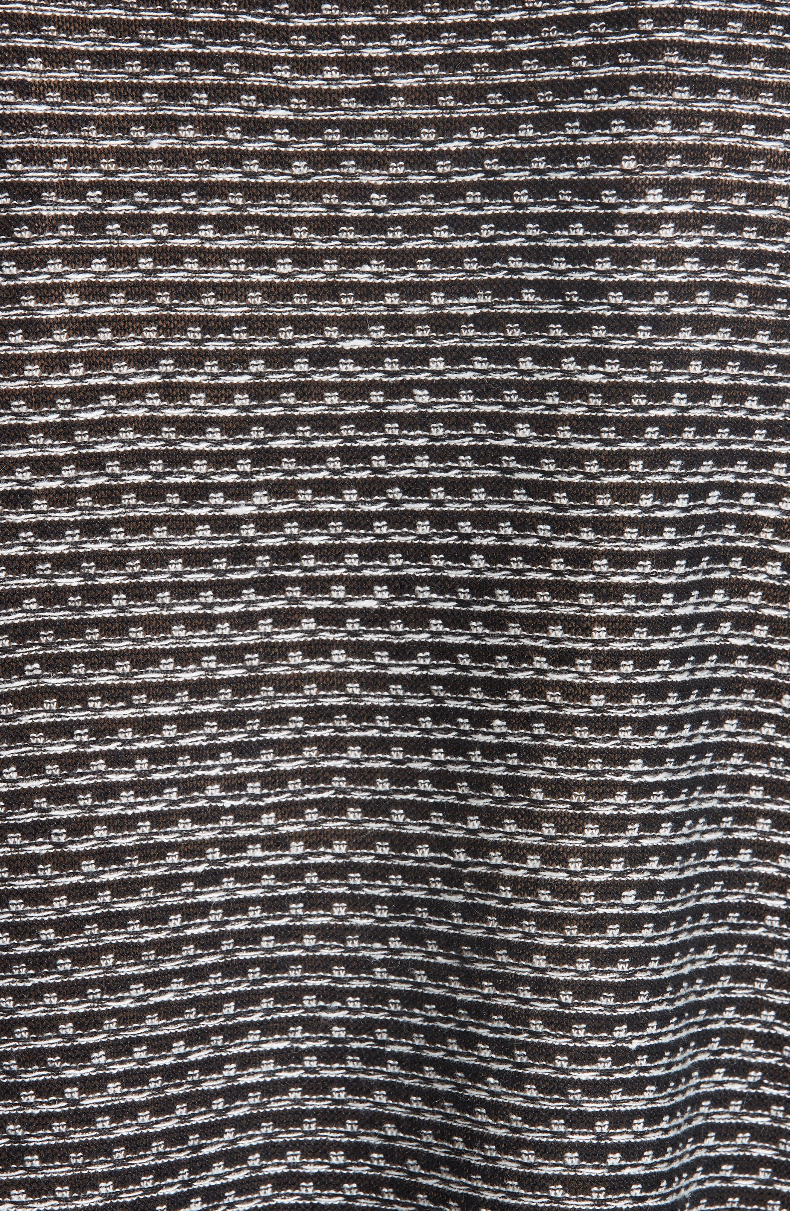 Organic Linen Jacquard Sweater,                             Alternate thumbnail 5, color,                             Black/ Soft White