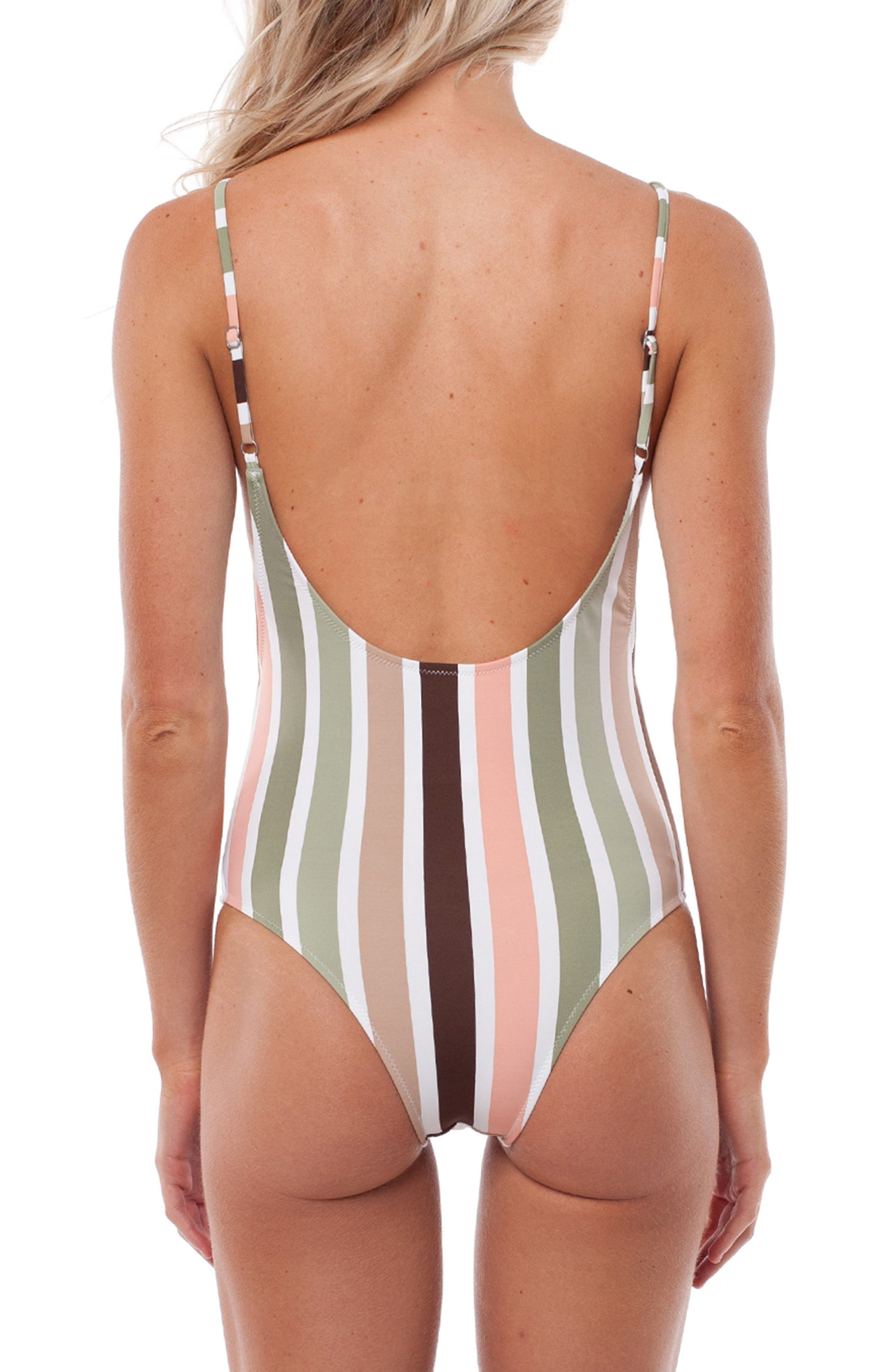 Zimbabwe One-Piece Swimsuit,                             Alternate thumbnail 2, color,                             Fern