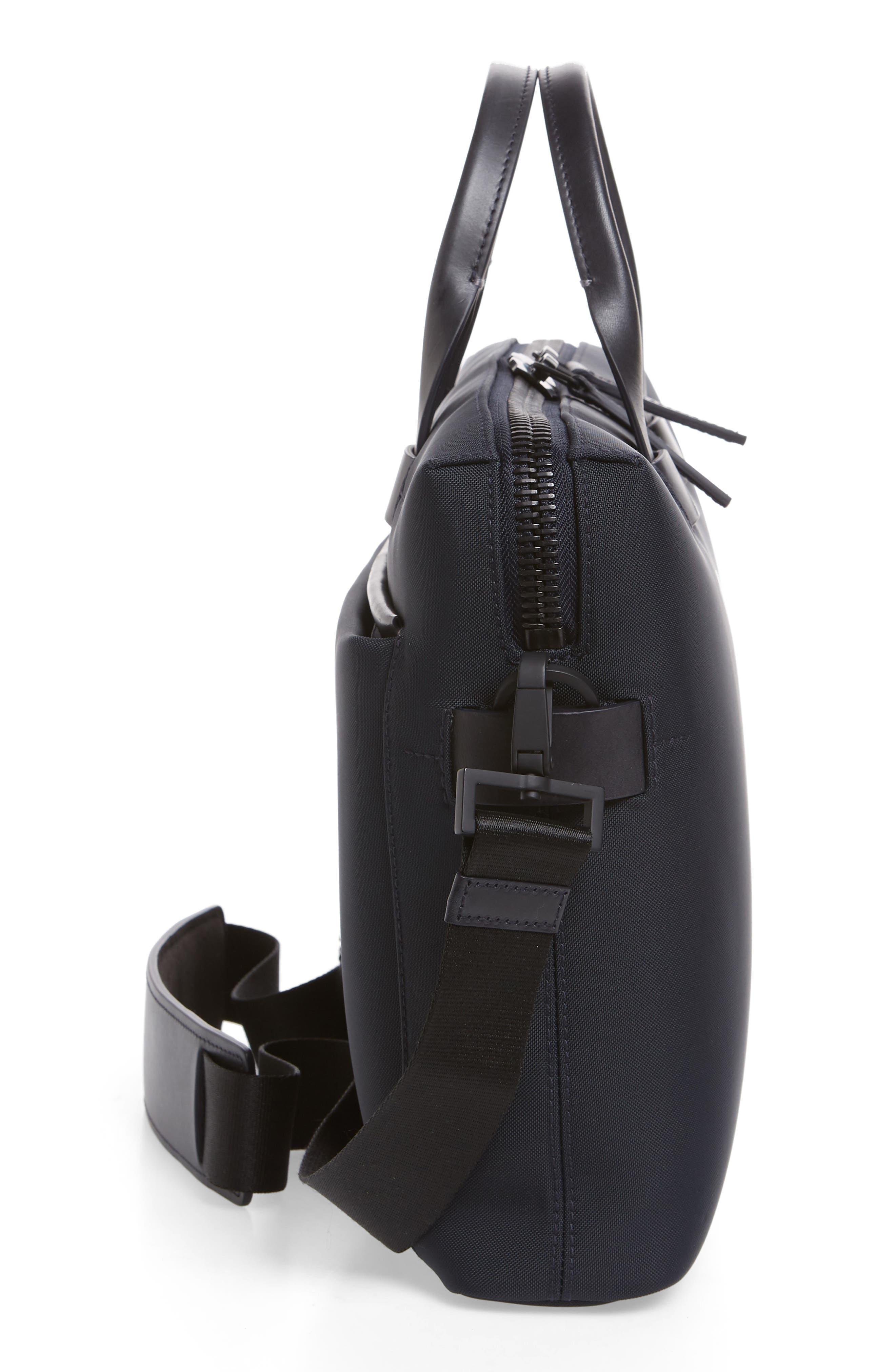 Slim Briefcase,                             Alternate thumbnail 5, color,                             Navy Nylon/ Navy Leather