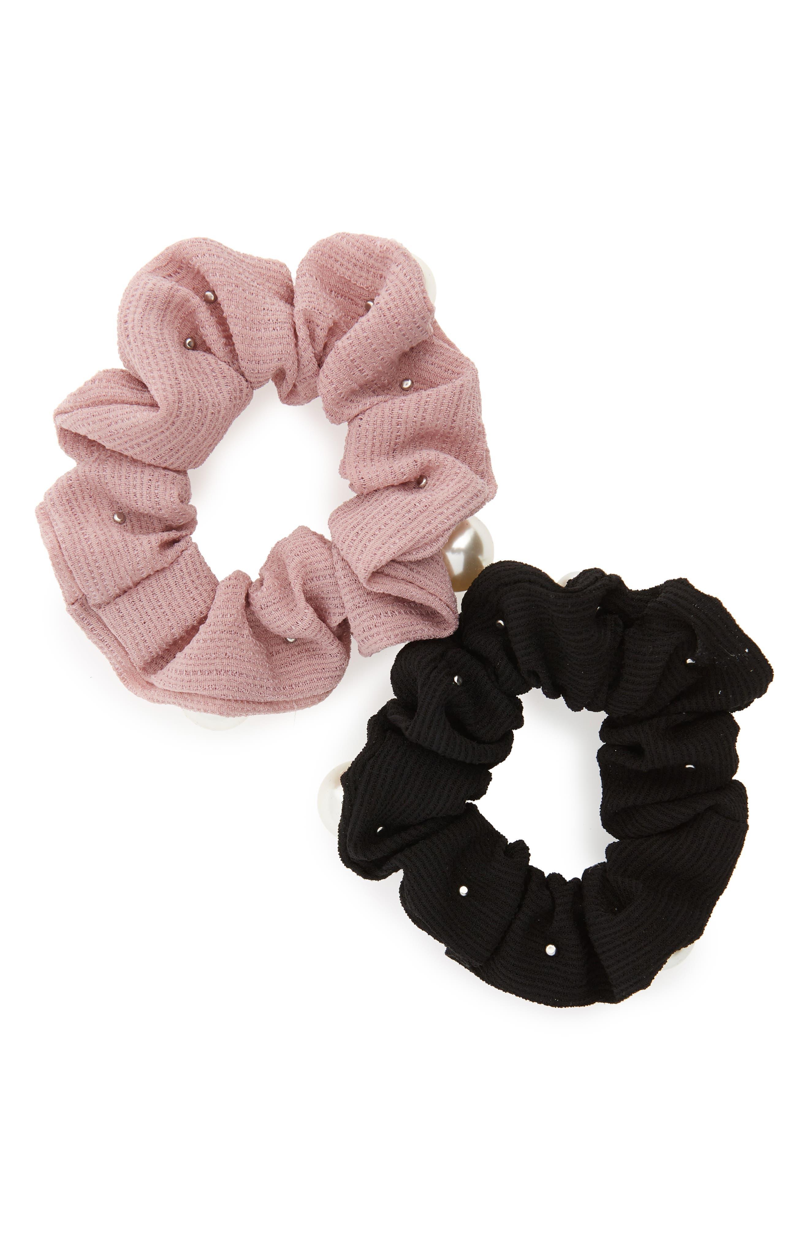 2-Pack Imitation Pearl Scrunchies,                             Alternate thumbnail 2, color,                             Black/ Pink