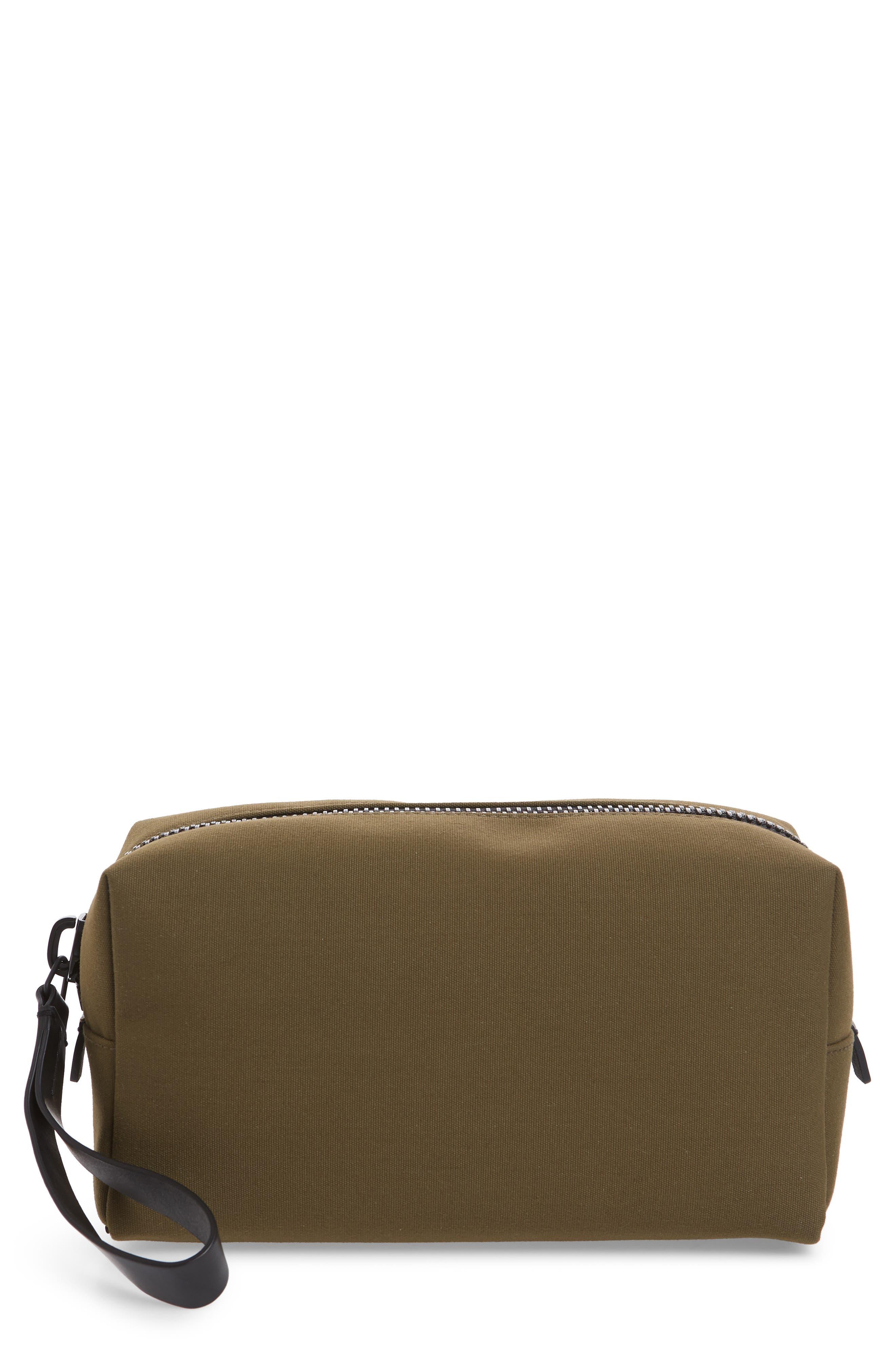 TROUBADOUR Canvas Dopp Kit in Khaki Canvas/ Black Leather