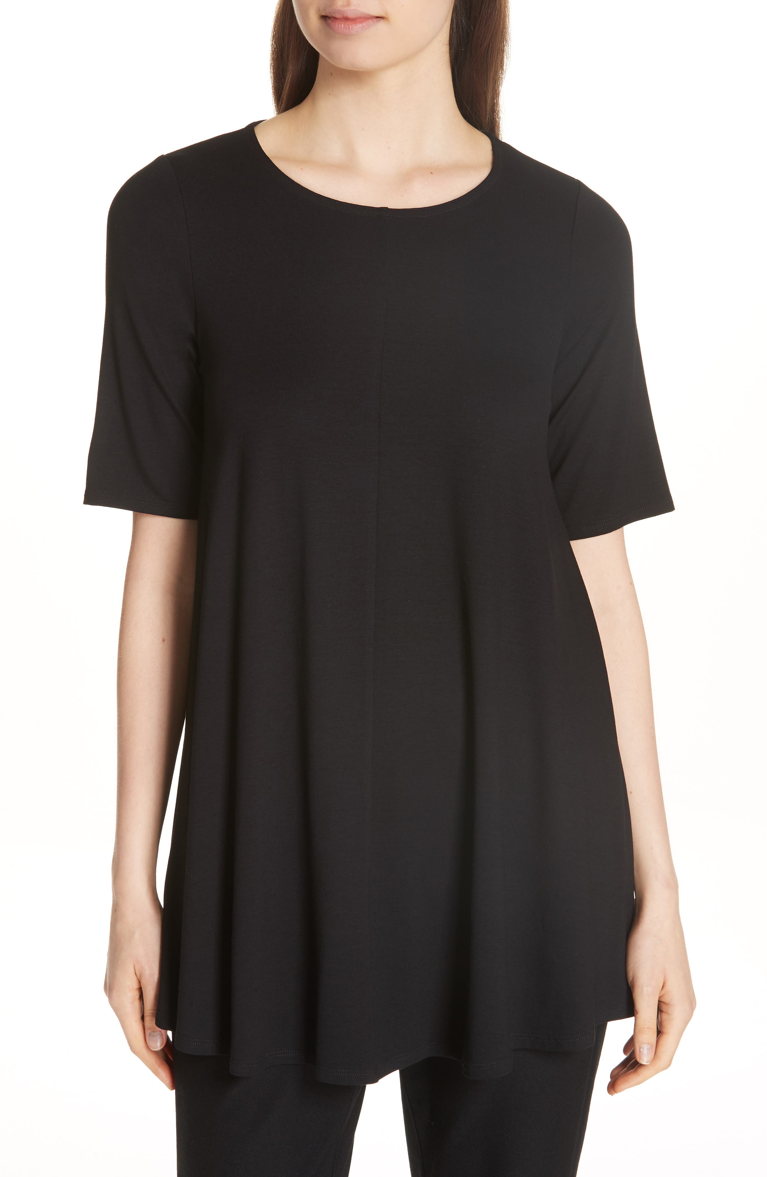 Jewel Neck Elbow Sleeve Tunic,                             Main thumbnail 1, color,                             Black