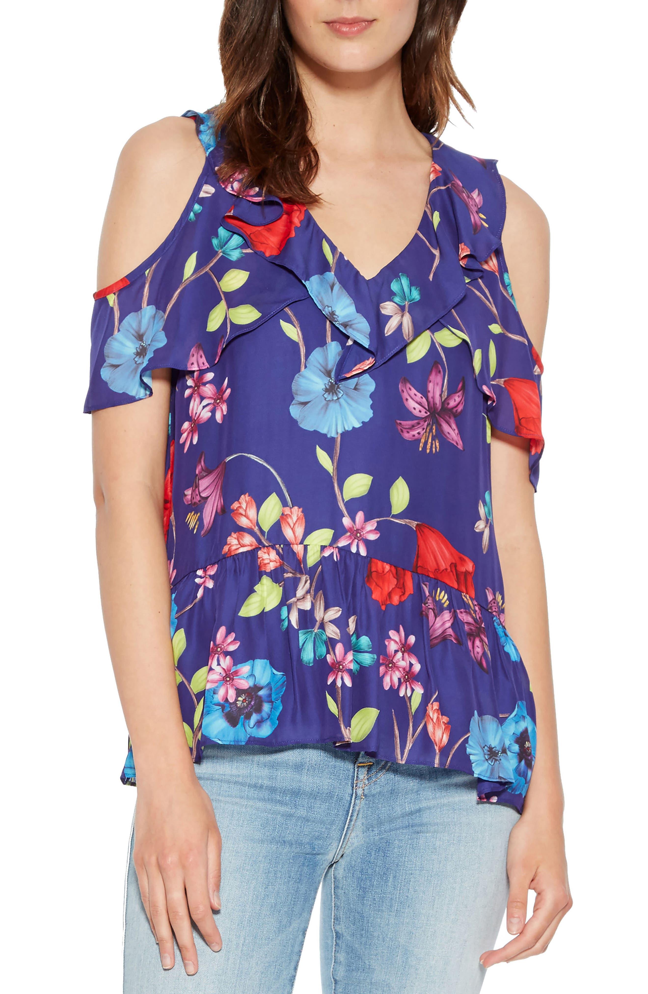 Dedra Silk Blend Cold Shoulder Blouse,                             Main thumbnail 1, color,                             Valencia Eclipse