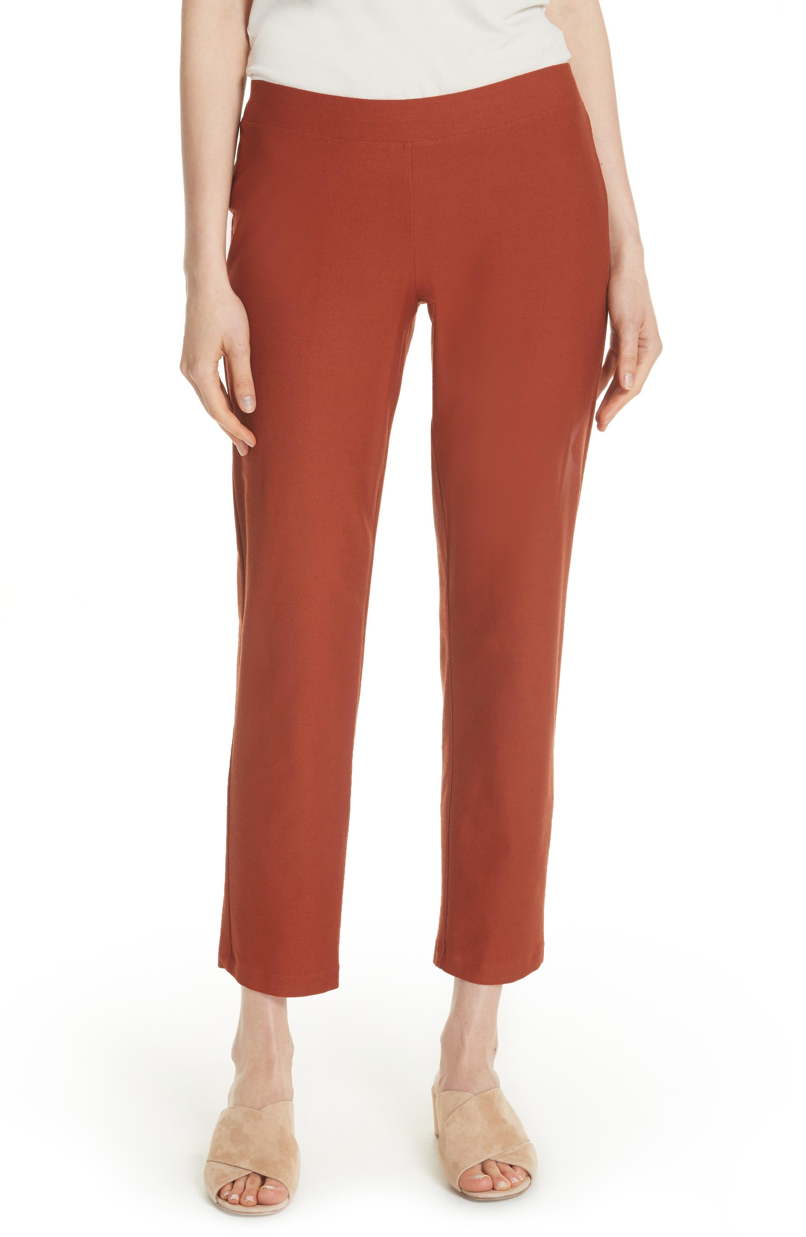 Stretch Crepe Slim Ankle Pants,                         Main,                         color, Deep Pekoe