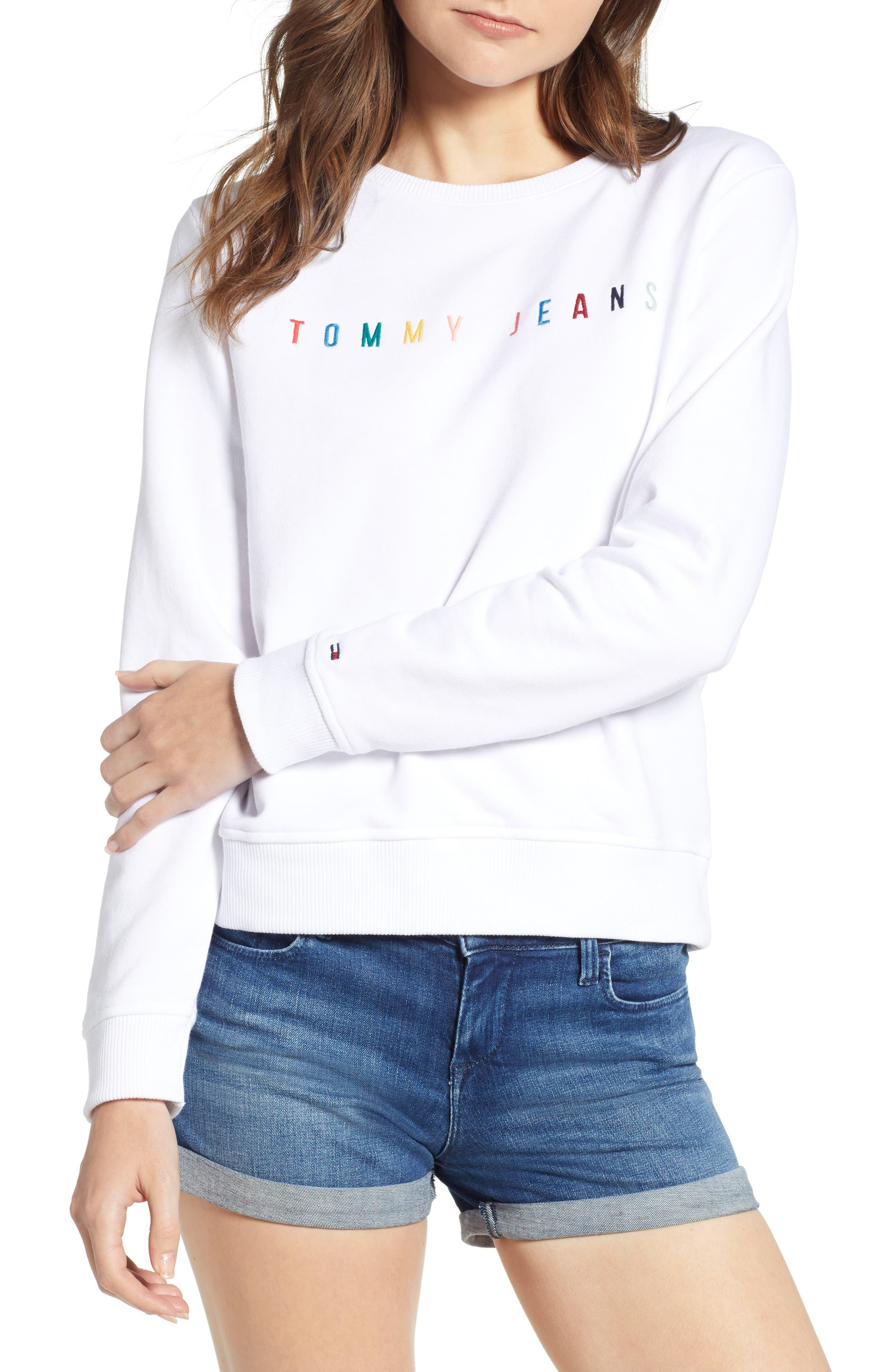 Summer Logo Sweatshirt,                             Main thumbnail 1, color,                             Bright White