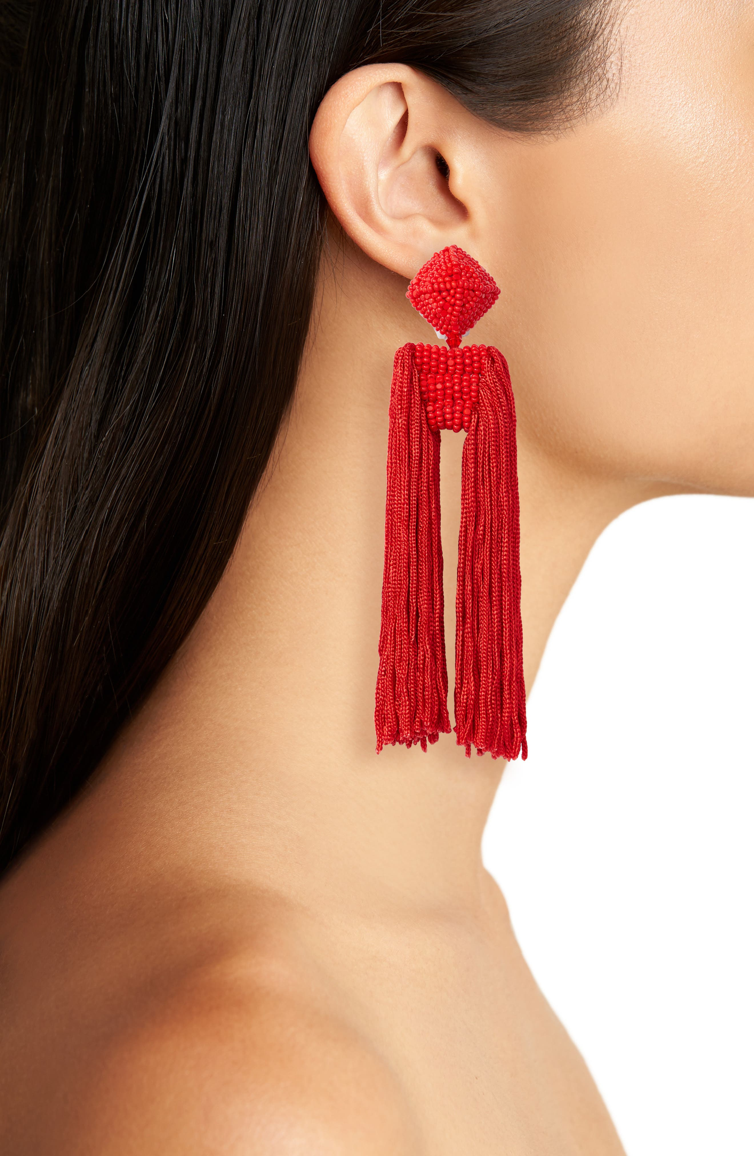 Dupio Tassel Drop Earrings,                             Alternate thumbnail 2, color,                             Goji Berry