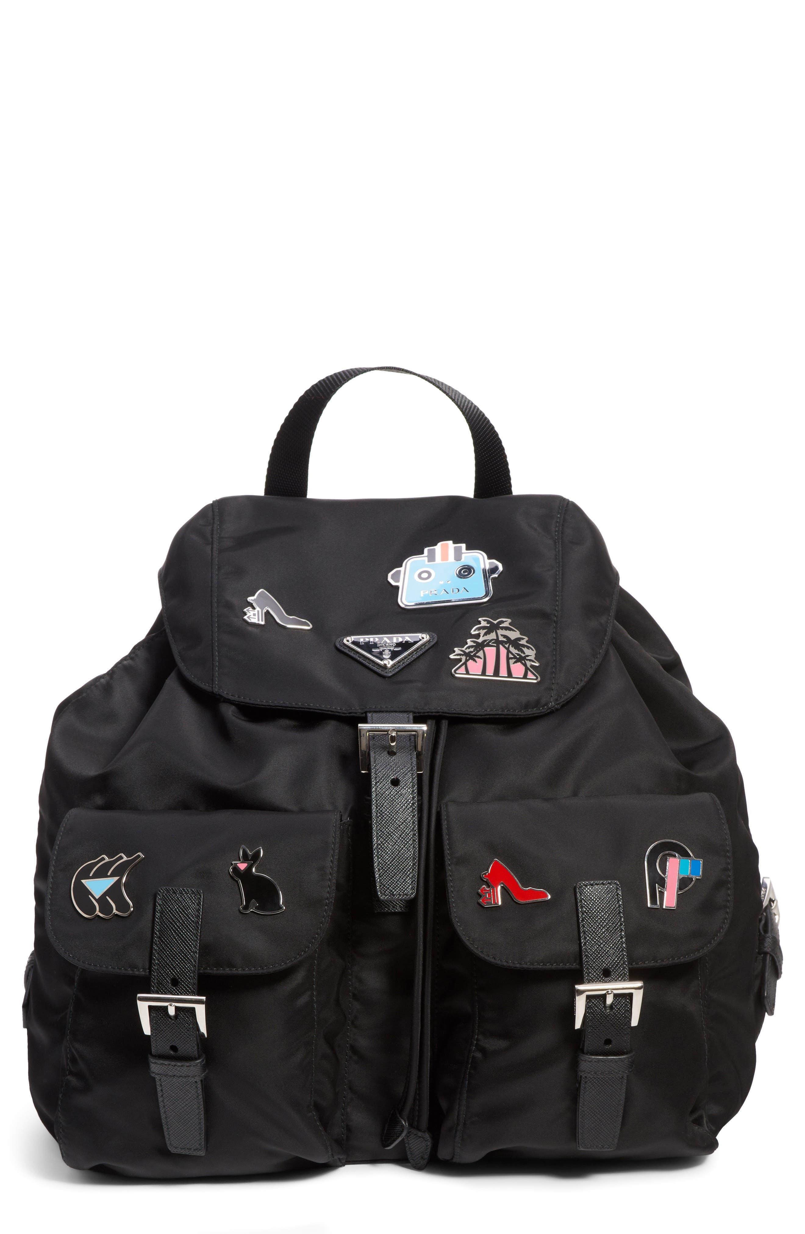 1a1bee75fb38 ... discount prada embellished nylon backpack 7e492 e435d