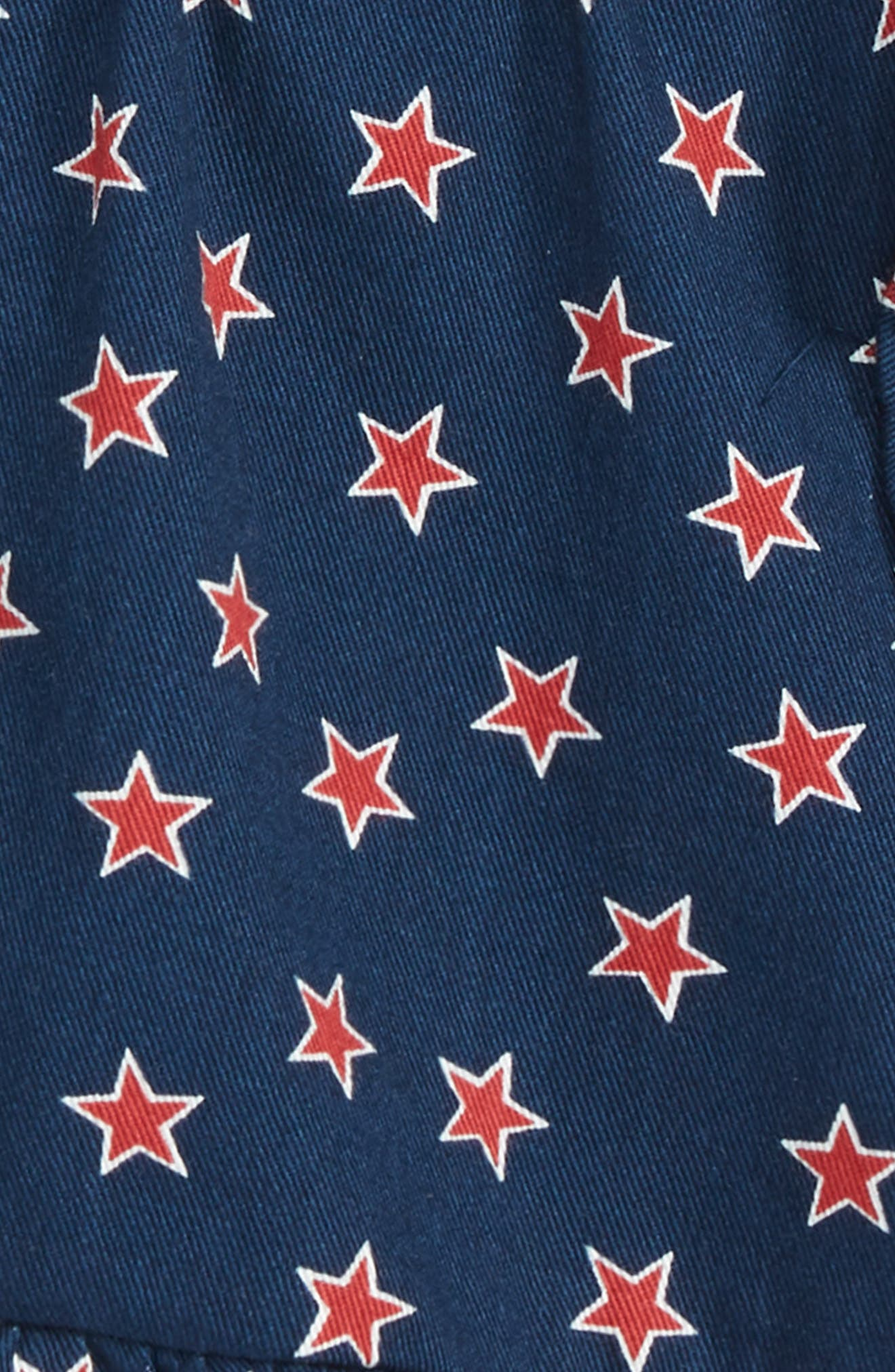 Star Print Ruffle Pull-On Shorts,                             Alternate thumbnail 2, color,                             Dark Indigo