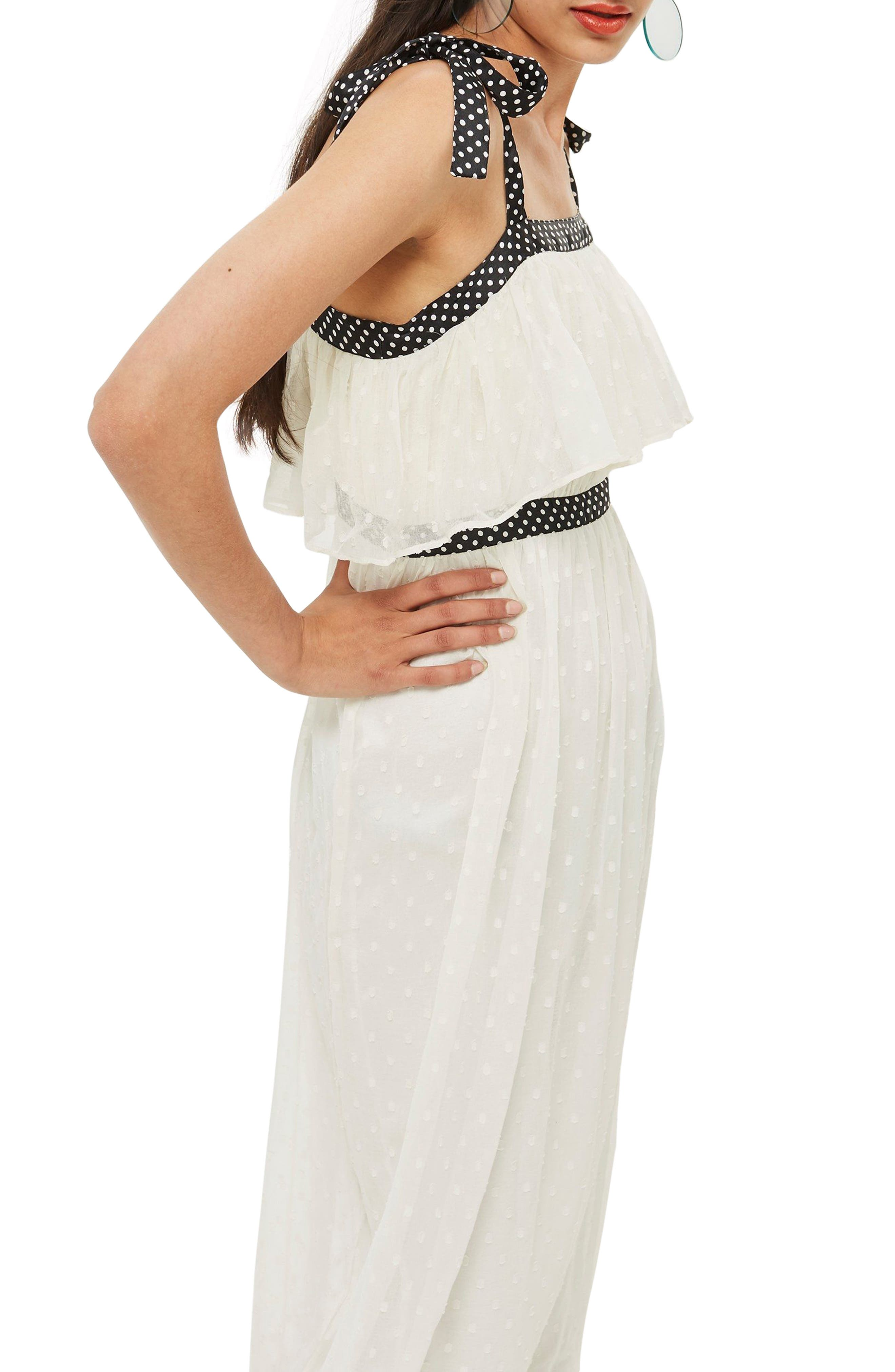 Polka Dot Midi Dress,                             Alternate thumbnail 3, color,                             Ivory Multi