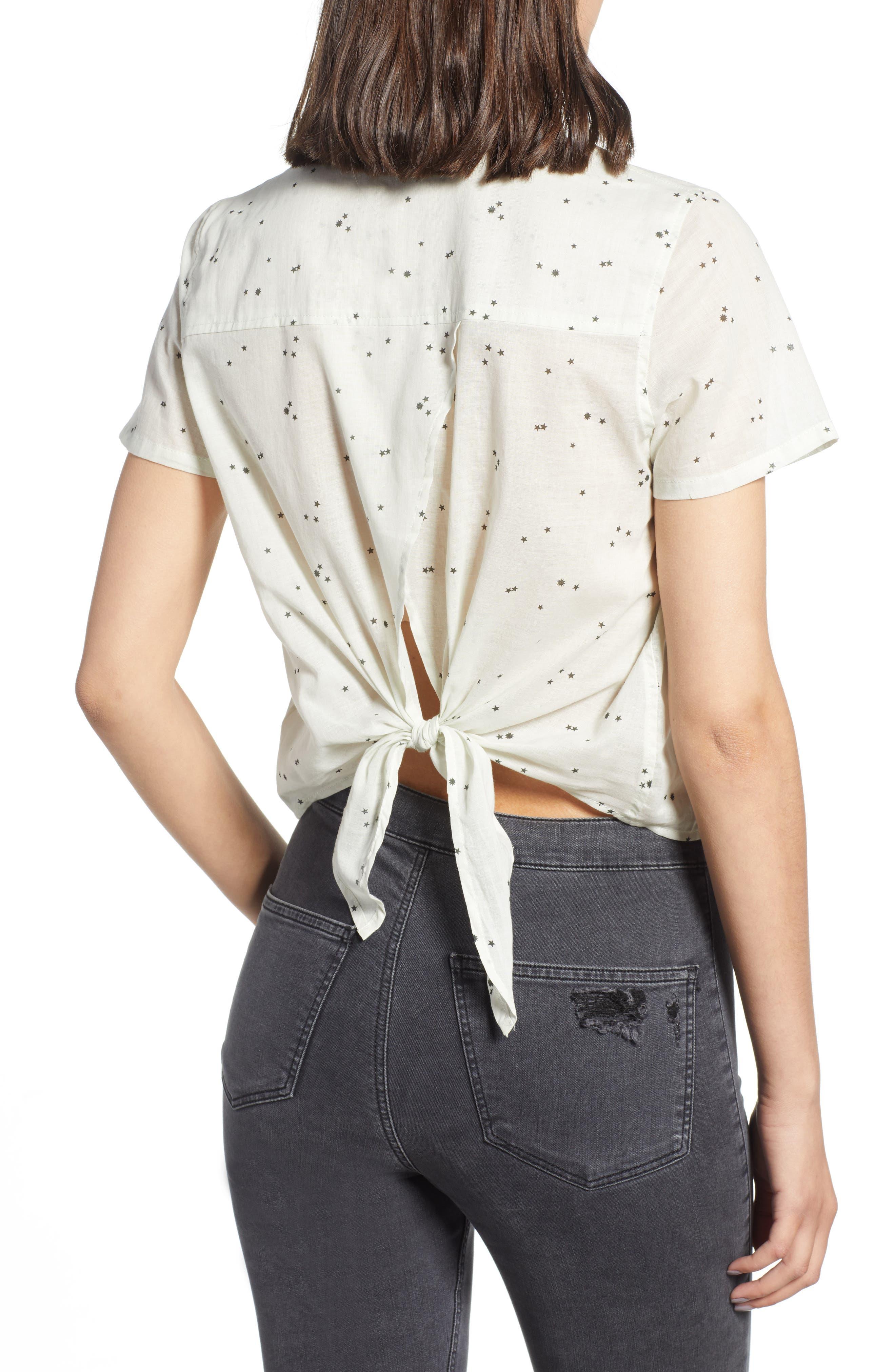 Tie Back Camp Shirt,                             Alternate thumbnail 2, color,                             White Star Print