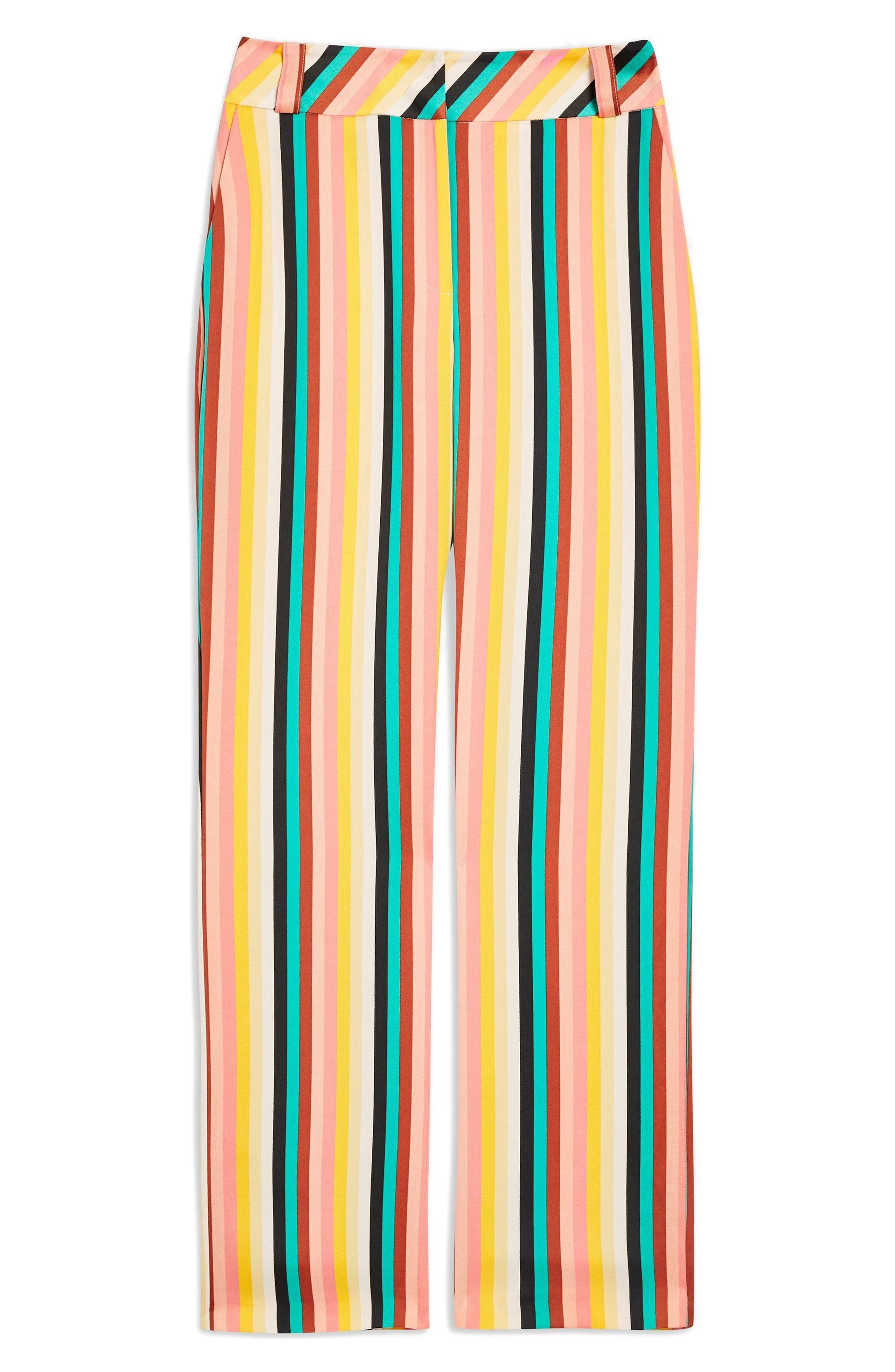 Rainbow Stripe Wide Leg Trousers,                             Alternate thumbnail 2, color,                             Yellow Multi