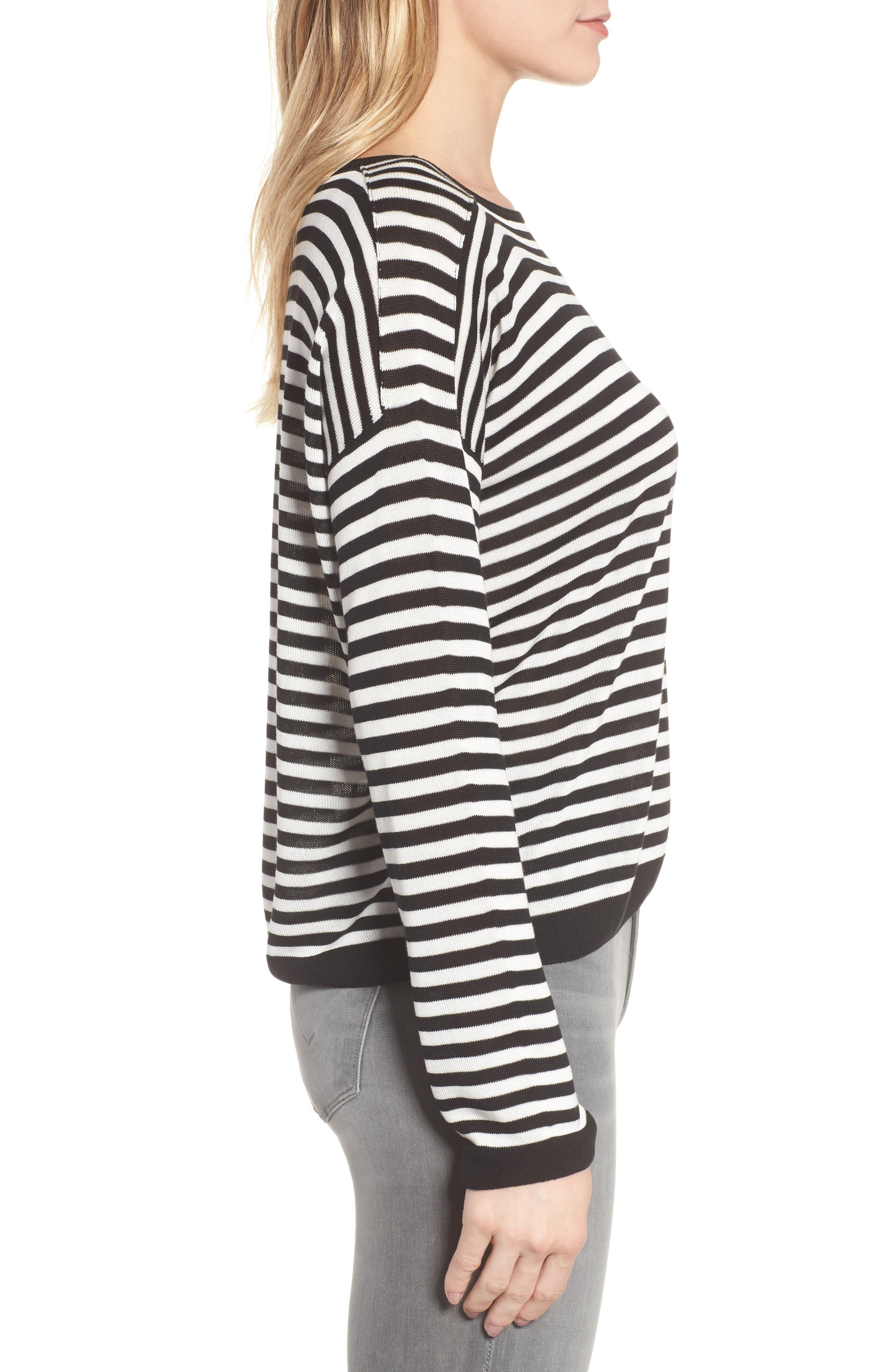 Stripe Tencel<sup>®</sup> Lyocell Knit Sweater,                             Alternate thumbnail 3, color,                             Black/ Soft White