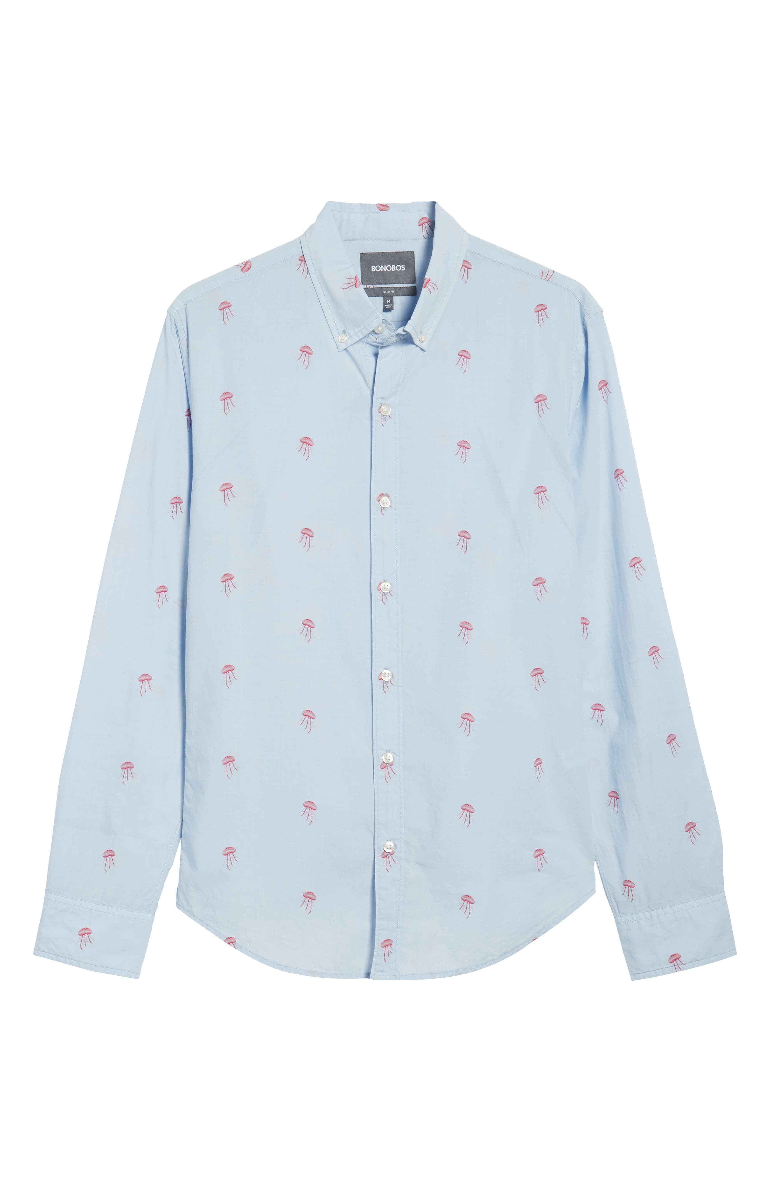 Summerweight Slim Fit Jellyfish Print Sport Shirt,                             Alternate thumbnail 5, color,                             Little Jelly - Peony Coral
