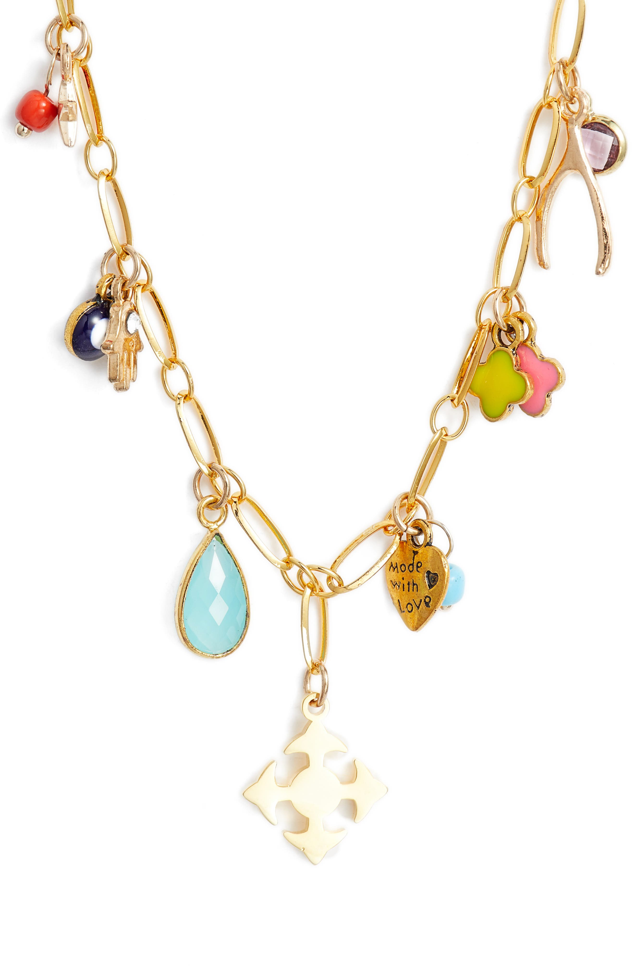 Lala Charm Necklace,                         Main,                         color, Gold