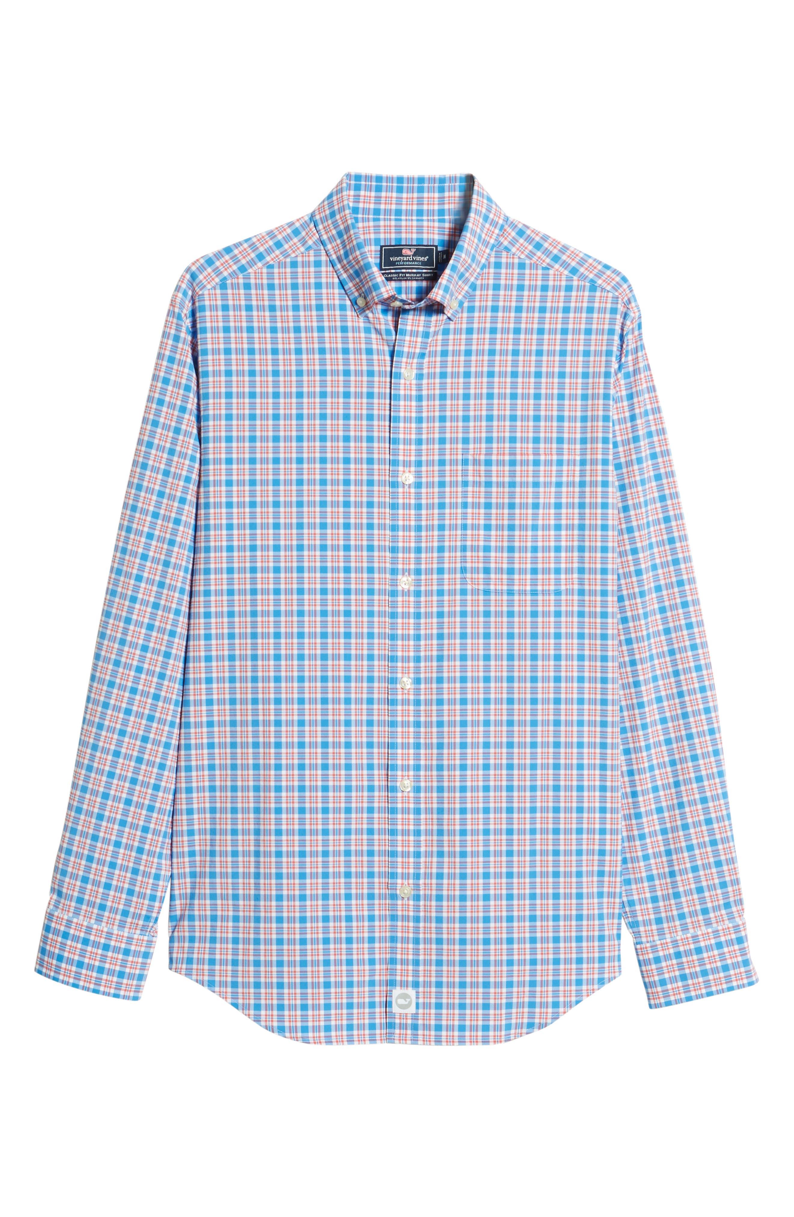 Lighthouse Road Regular Fit Plaid Sport Shirt,                             Alternate thumbnail 5, color,                             Hull Blue
