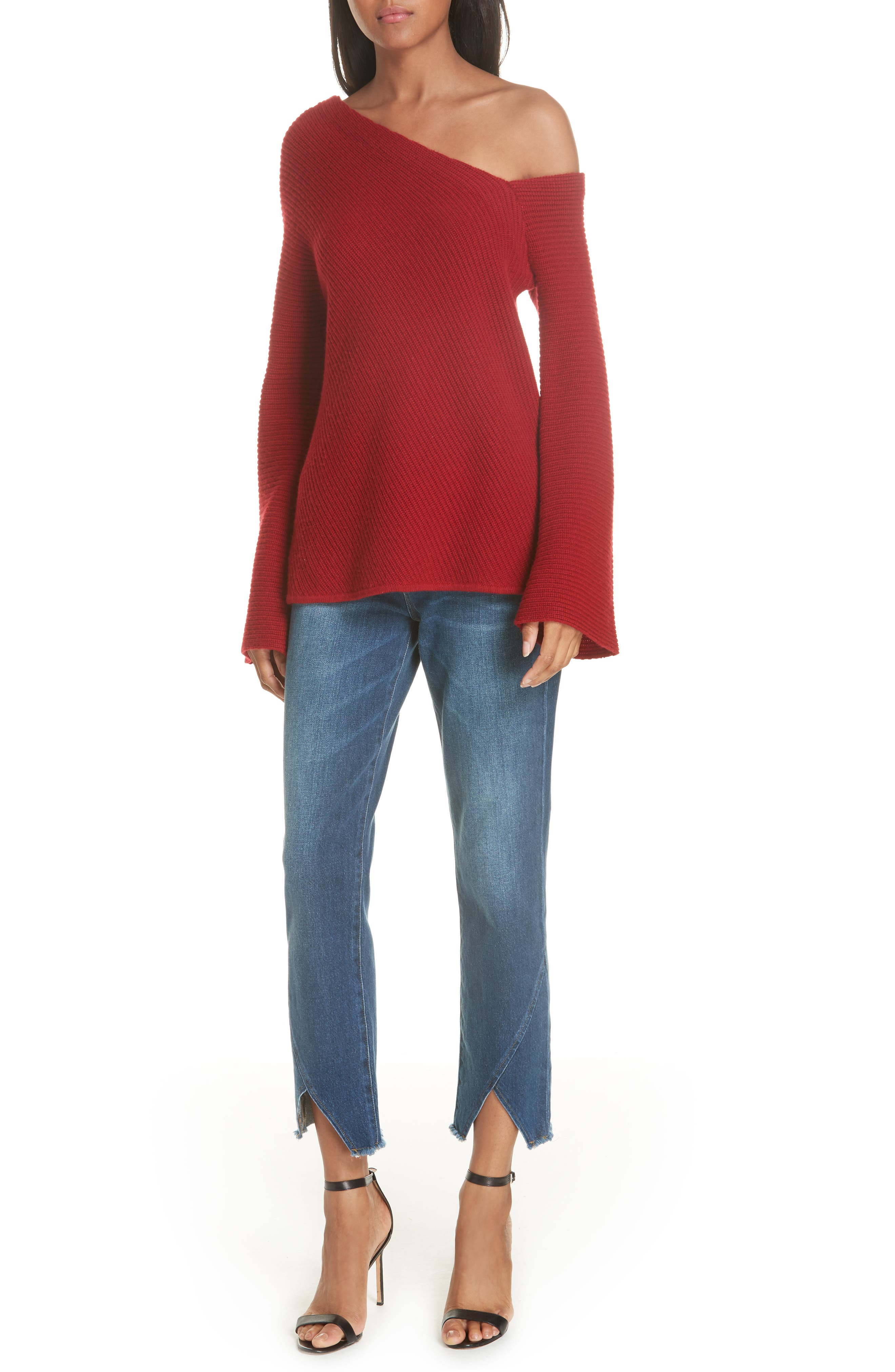 Le High Straight Asymmetrical Hem Jeans,                             Alternate thumbnail 9, color,                             Kingsway