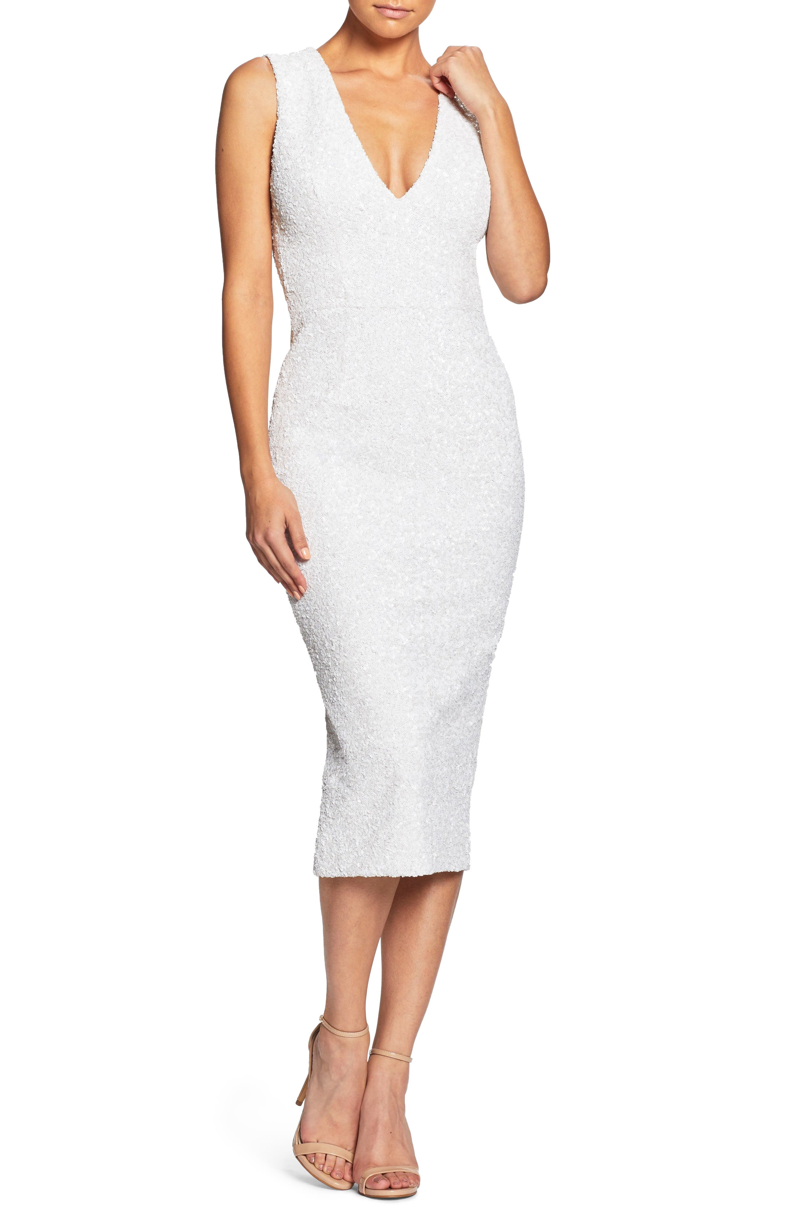 DRESS THE POPULATION Rani Open Back Sequin Dress in White