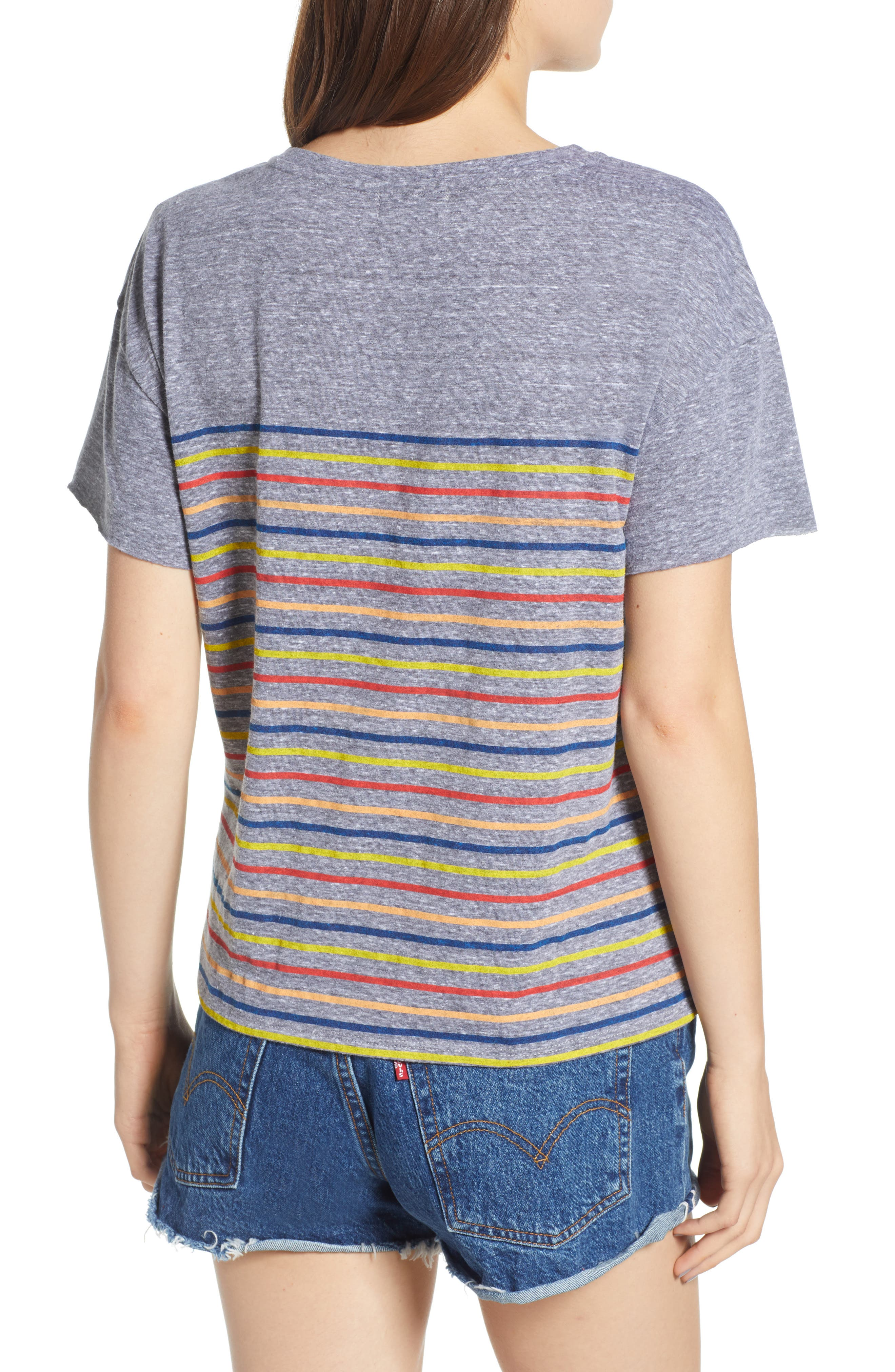 Placed Stripe Tee,                             Alternate thumbnail 2, color,                             Grey