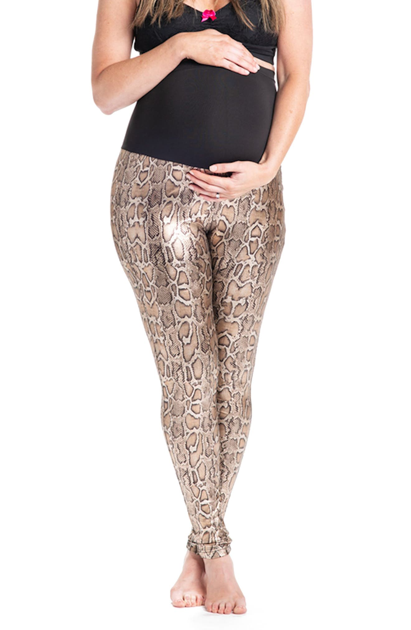 Python Print Maternity Leggings,                         Main,                         color, Gold