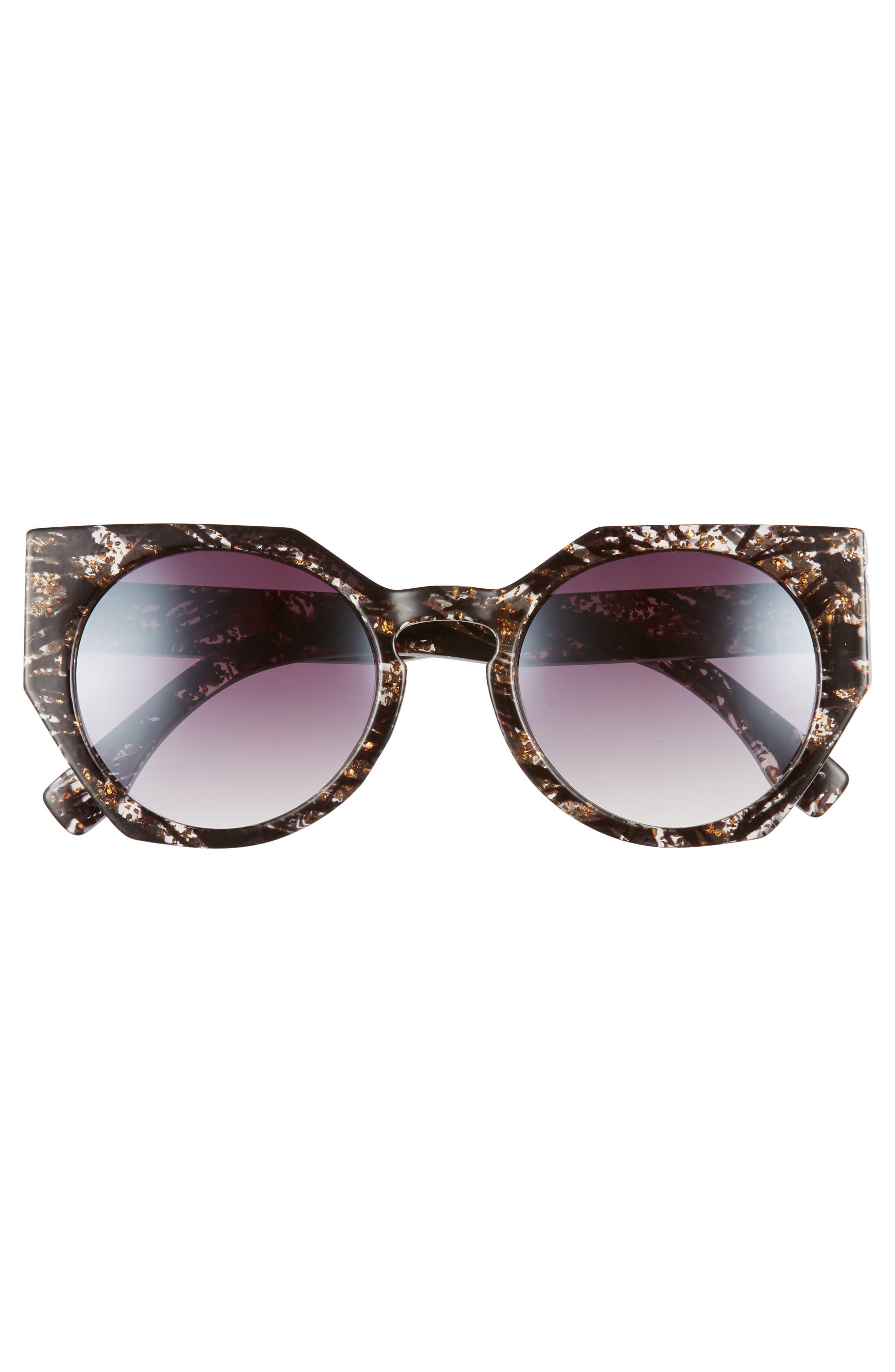 50mm Geometric Sunglasses,                             Alternate thumbnail 3, color,                             Black/ Gold