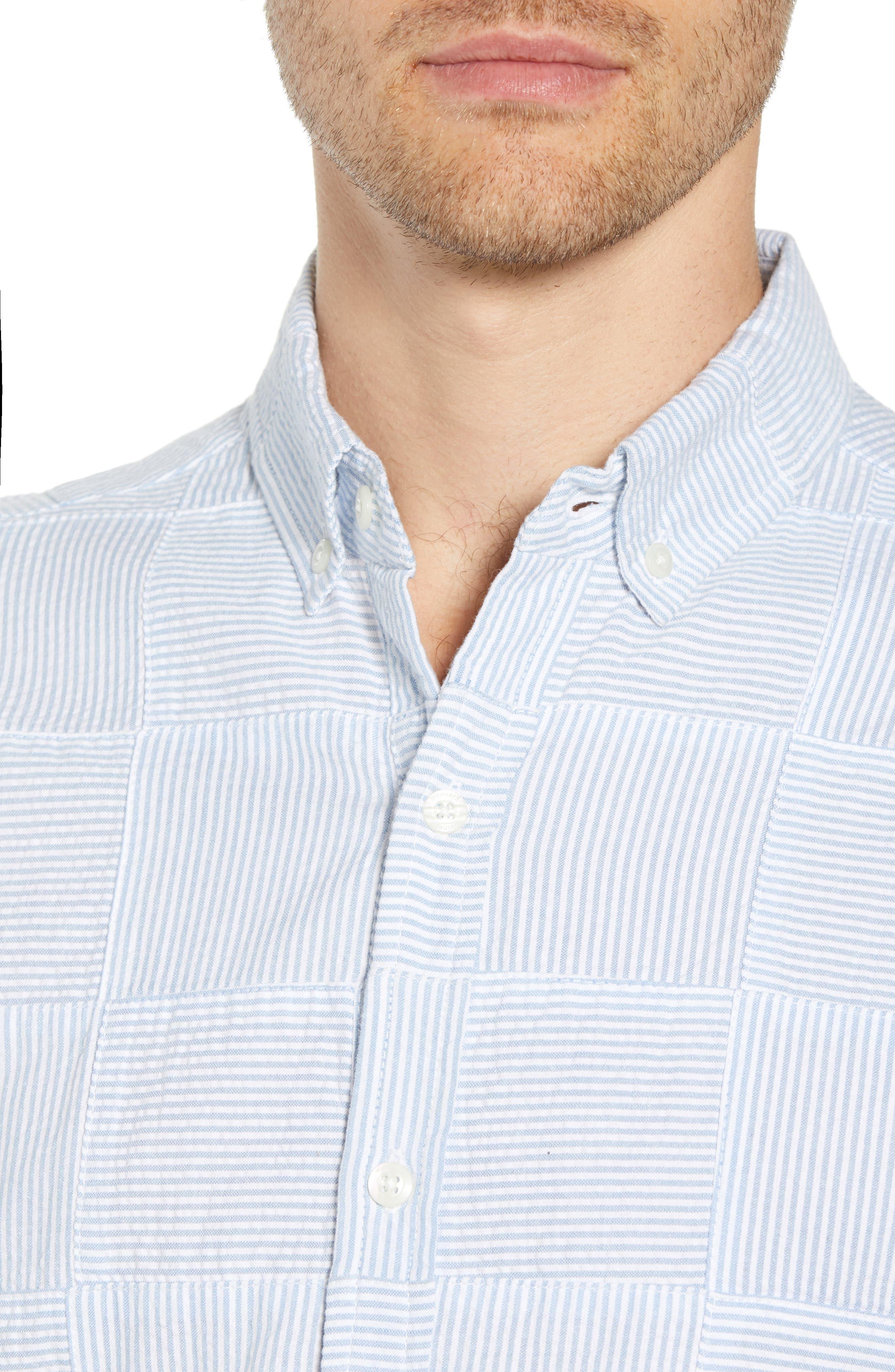 Stripe Patchwork Slim Fit Sport Shirt,                             Alternate thumbnail 2, color,                             Ocean Breeze
