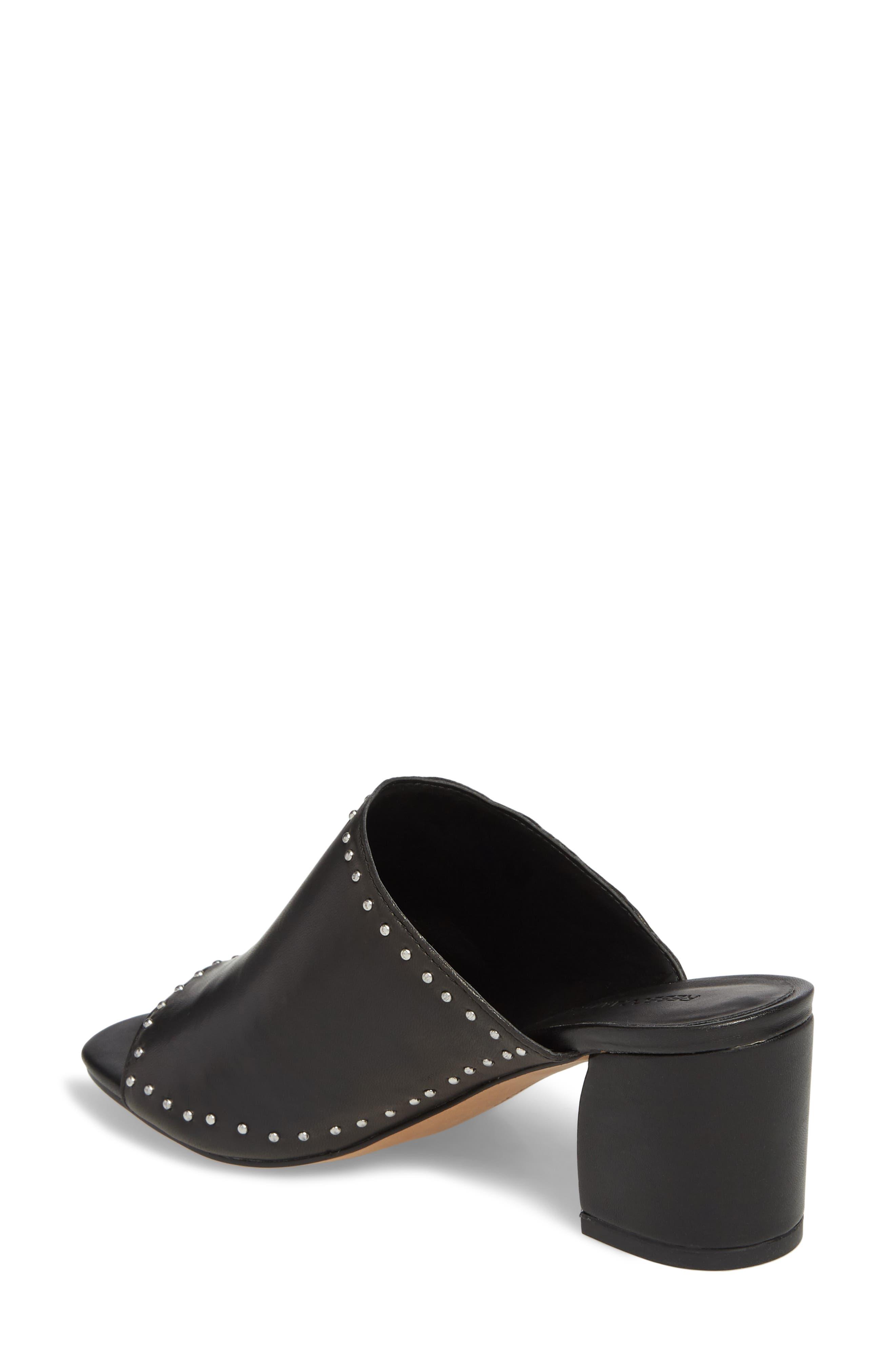 Lainy Studded Mule,                             Alternate thumbnail 2, color,                             Black Leather