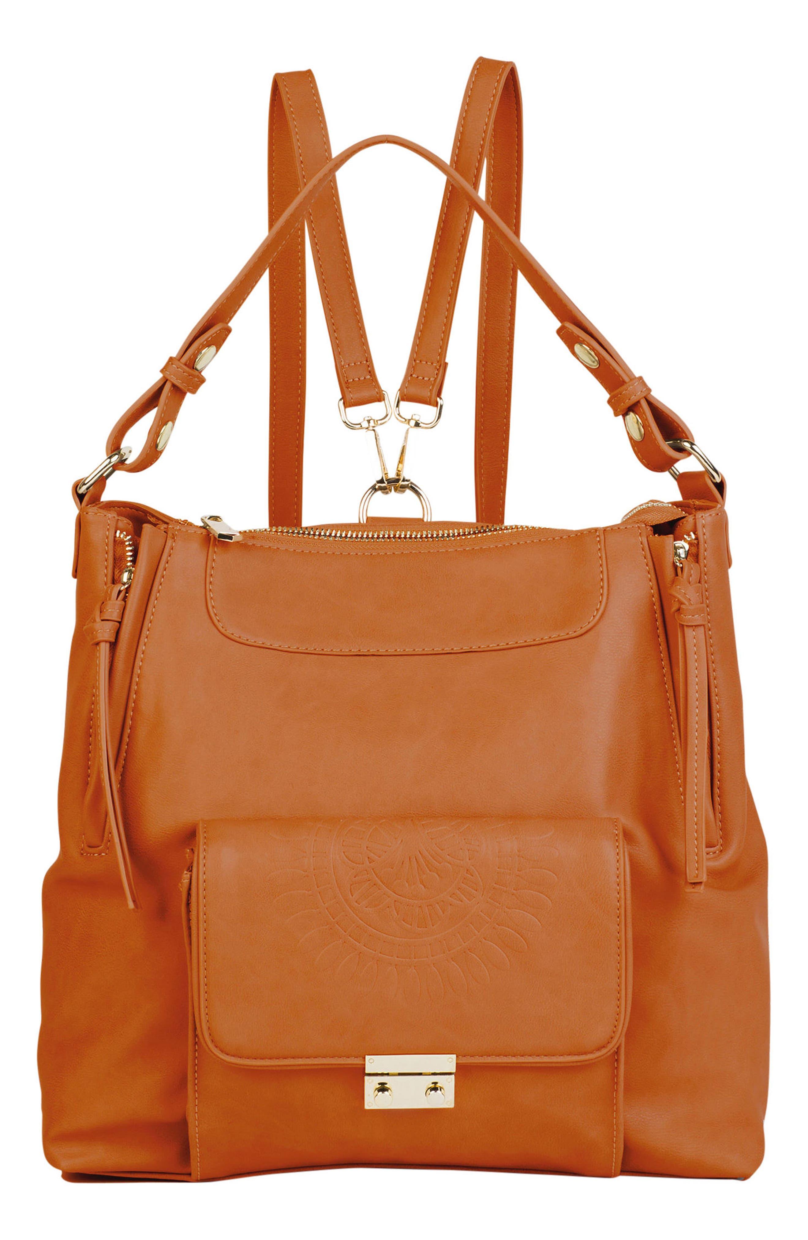 Wild Flower Vegan Leather Backpack - Brown, Tan