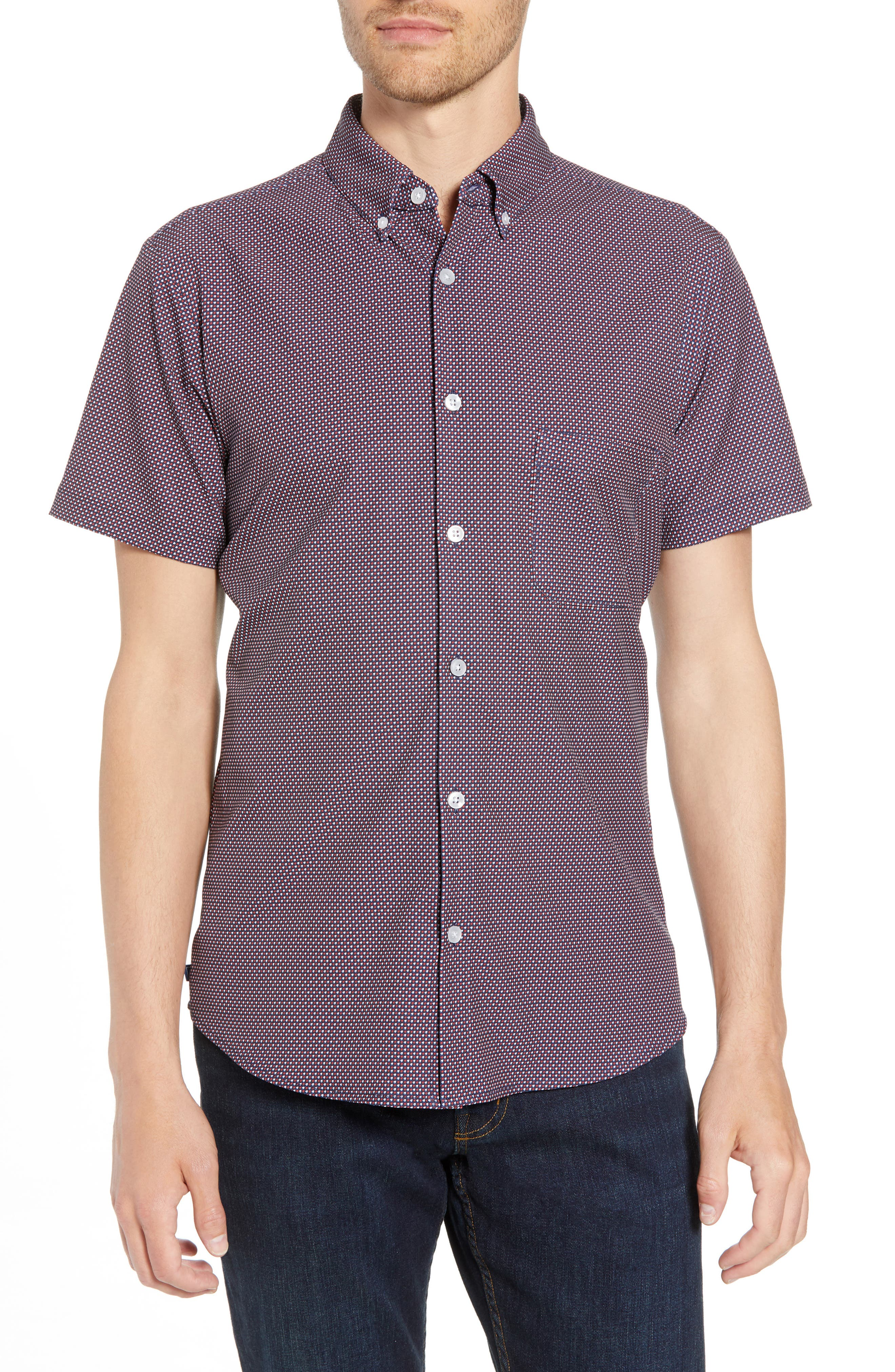 Gibson Slim Fit Dot Performance Sport Shirt,                             Main thumbnail 1, color,                             Red