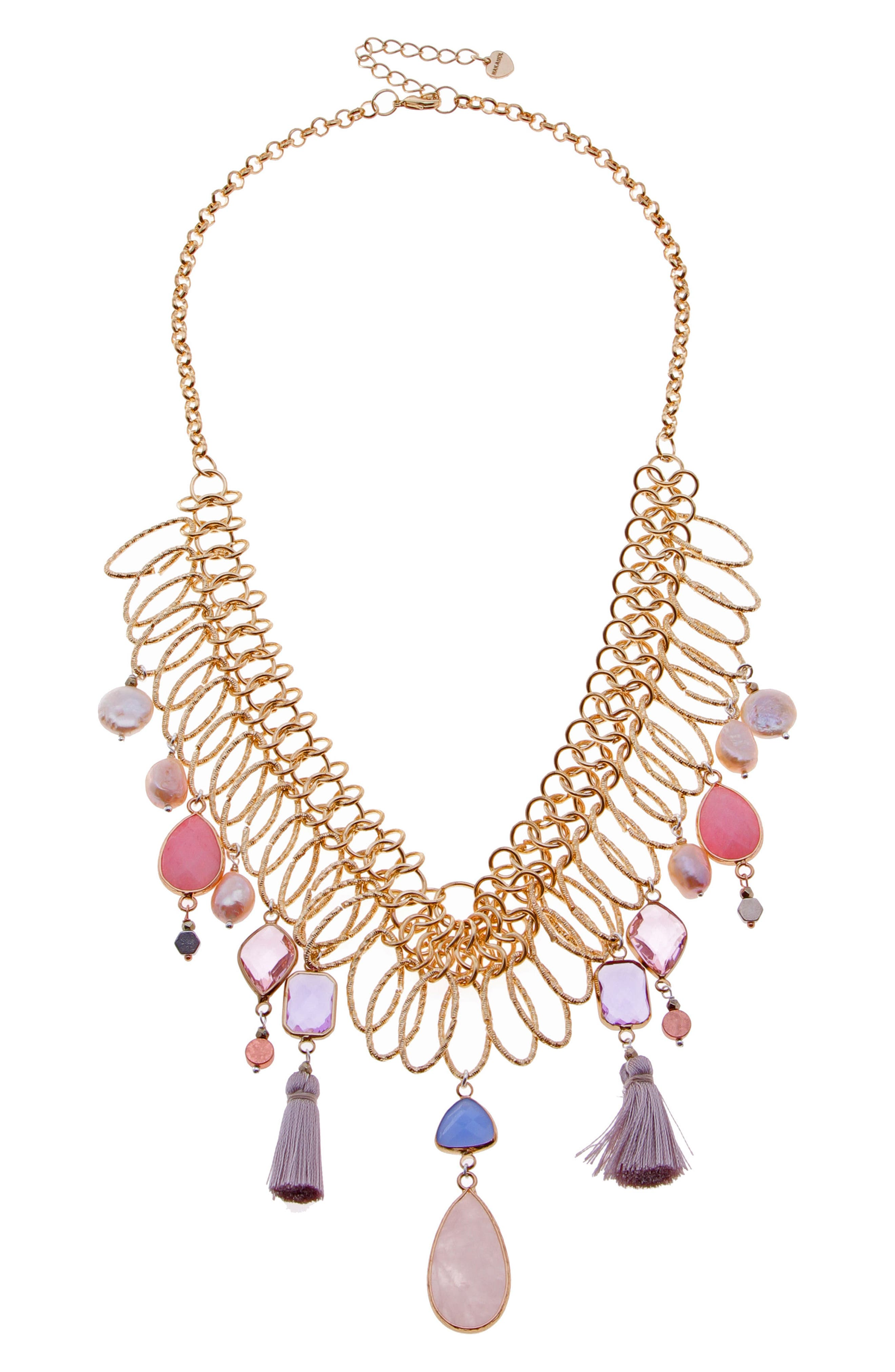 Collar Necklace with Stone Dangles,                         Main,                         color, Multi