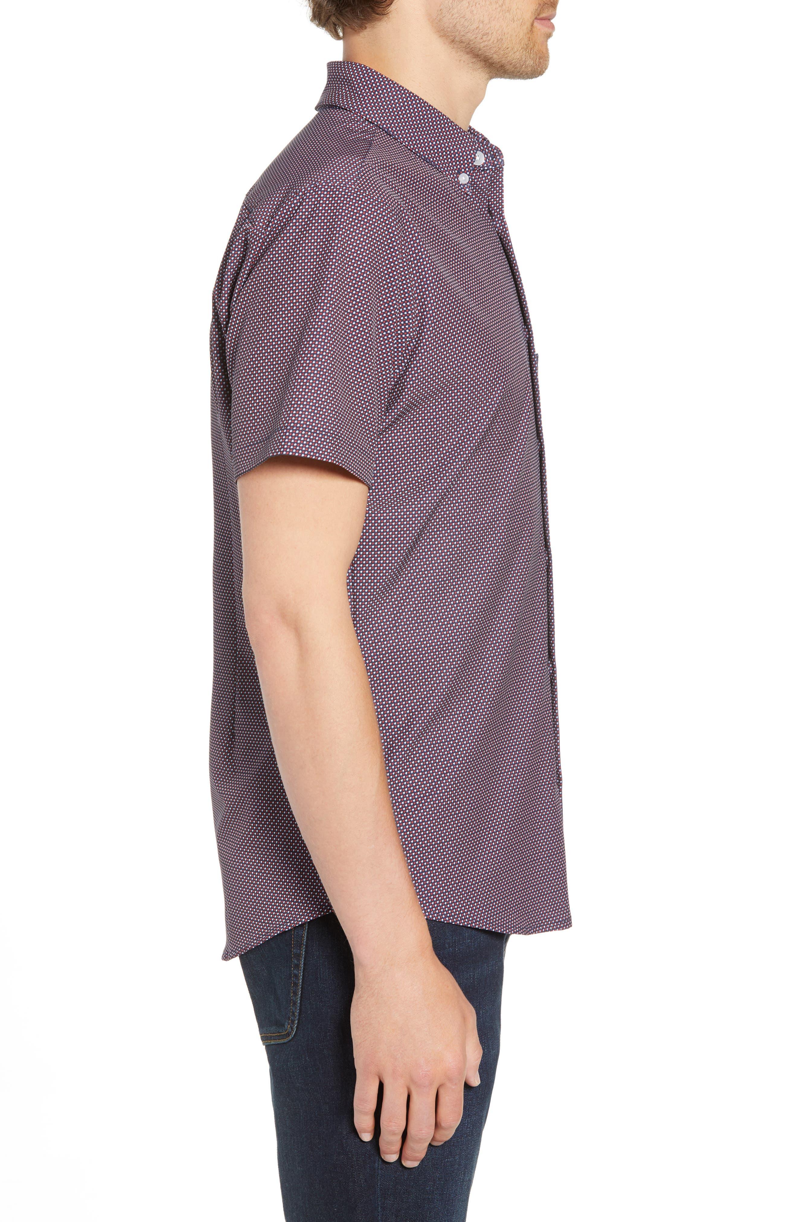 Gibson Slim Fit Dot Performance Sport Shirt,                             Alternate thumbnail 5, color,                             Red