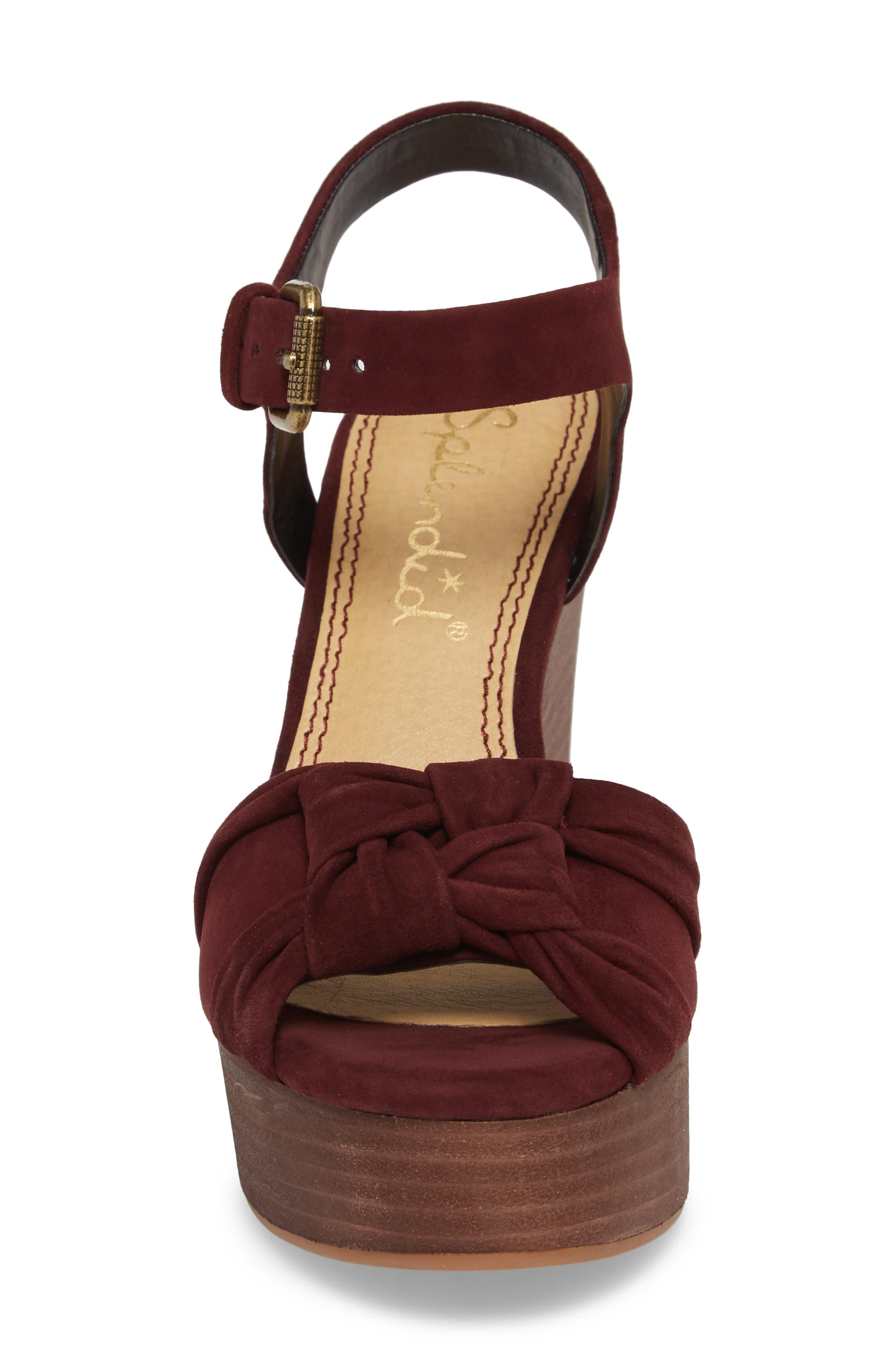 Nada Platform Wedge Sandal,                             Alternate thumbnail 3, color,                             Deep Plum Suede