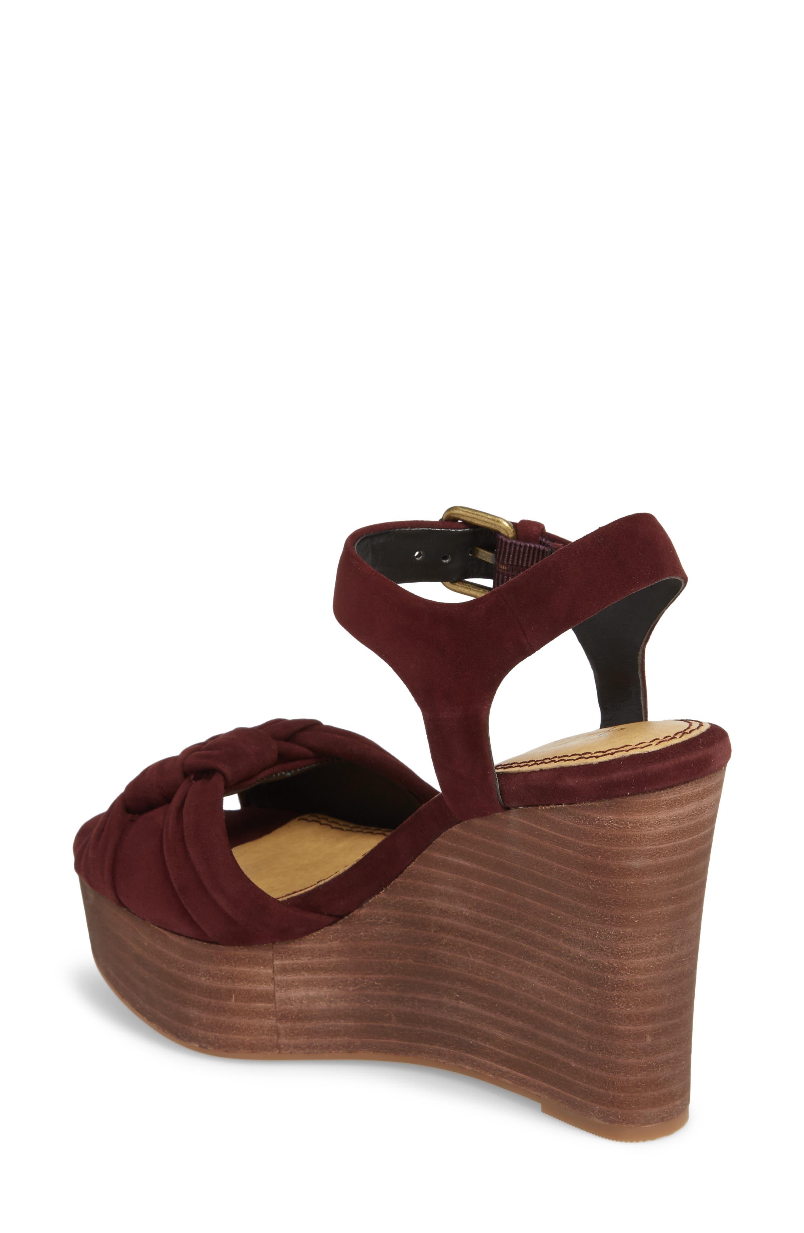 Nada Platform Wedge Sandal,                             Alternate thumbnail 2, color,                             Deep Plum Suede