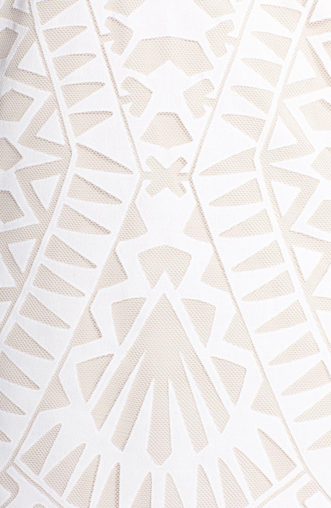 Ruffle Front Burnout Lace Shift Dress,                             Alternate thumbnail 3, color,                             Off White