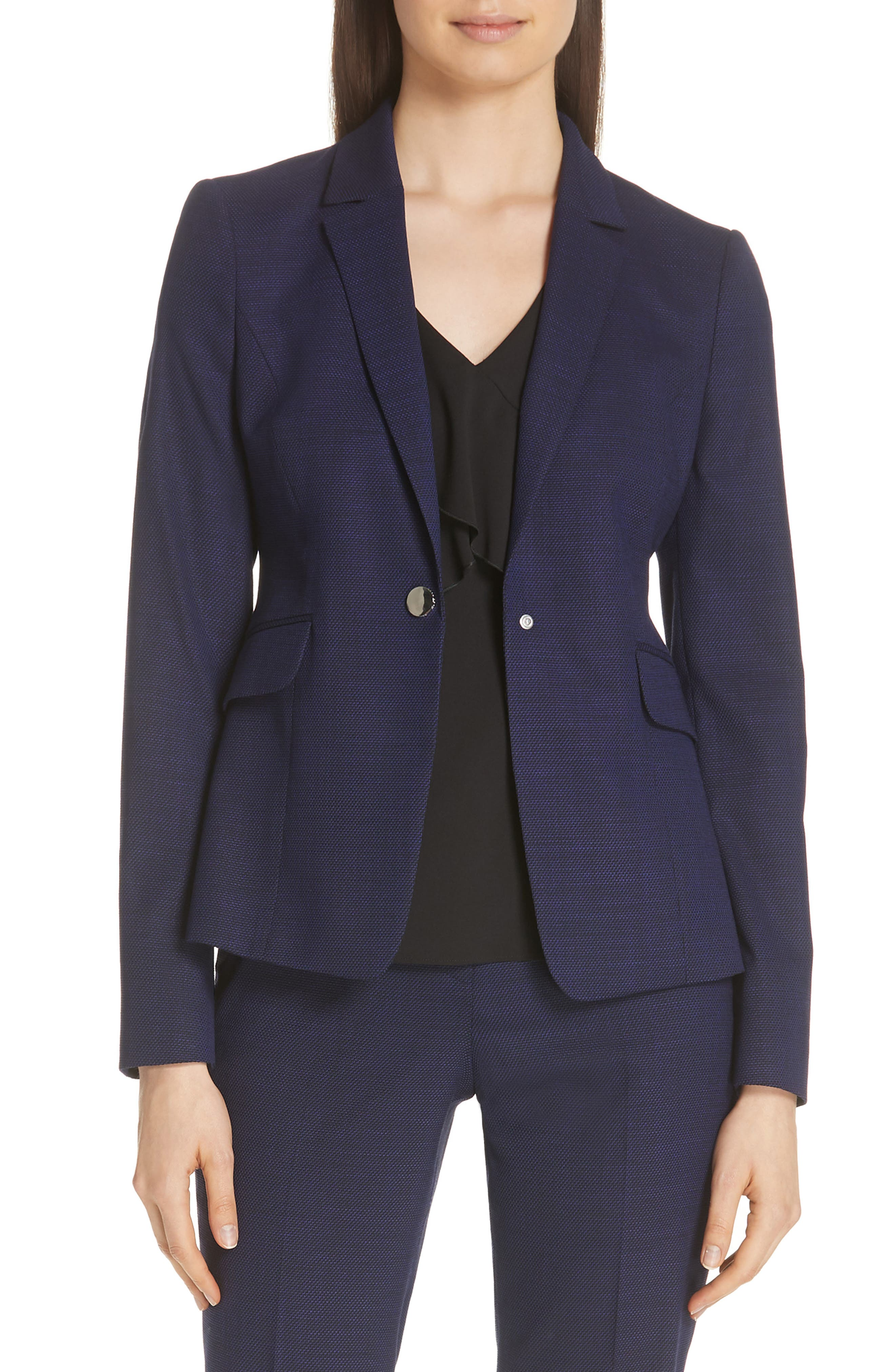 Jibalena Mini Glencheck Suit Jacket,                             Main thumbnail 1, color,                             Deep Lilac Fantasy