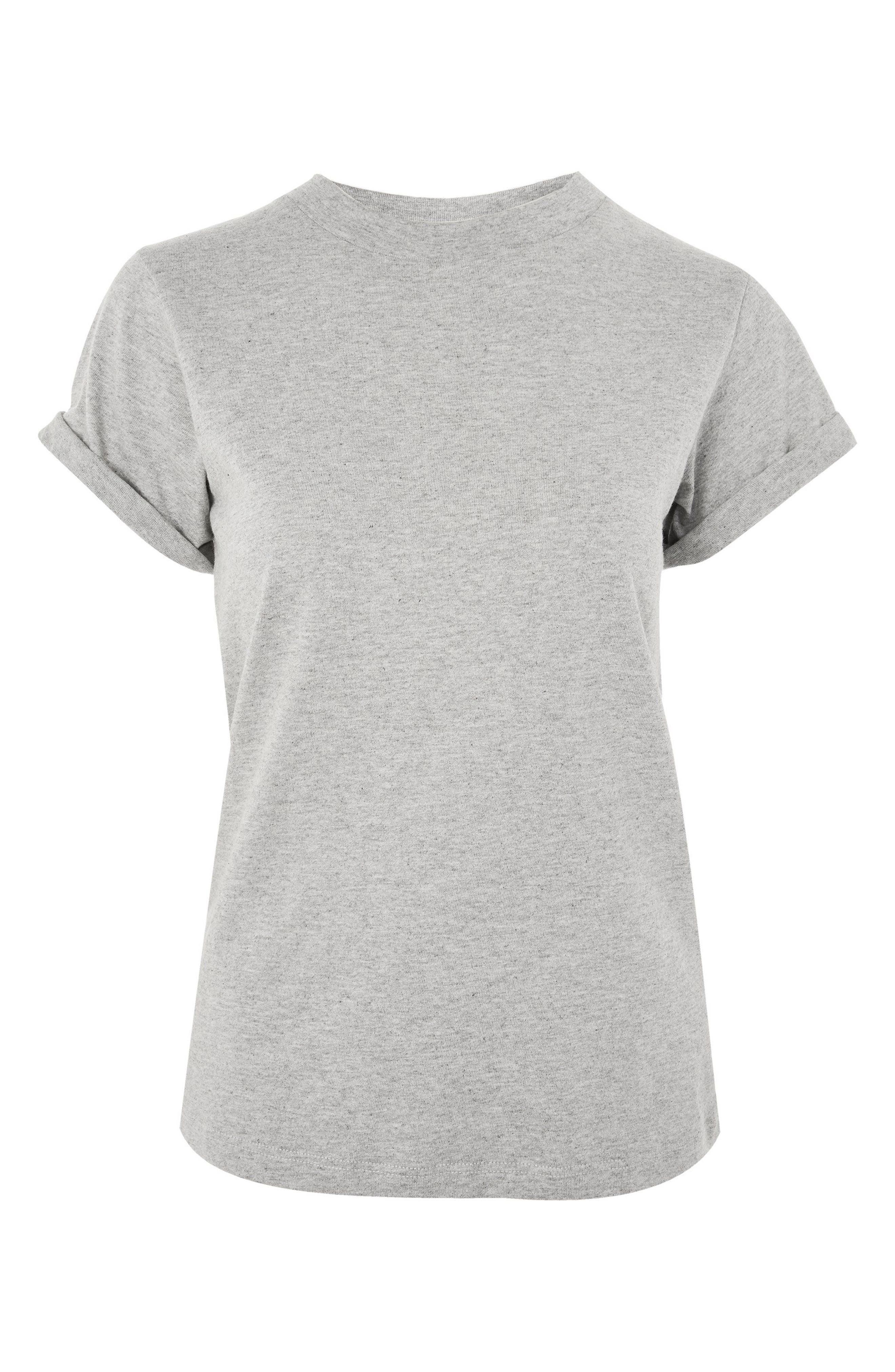 New Roll Sleeve Tee,                             Alternate thumbnail 3, color,                             Grey Marl