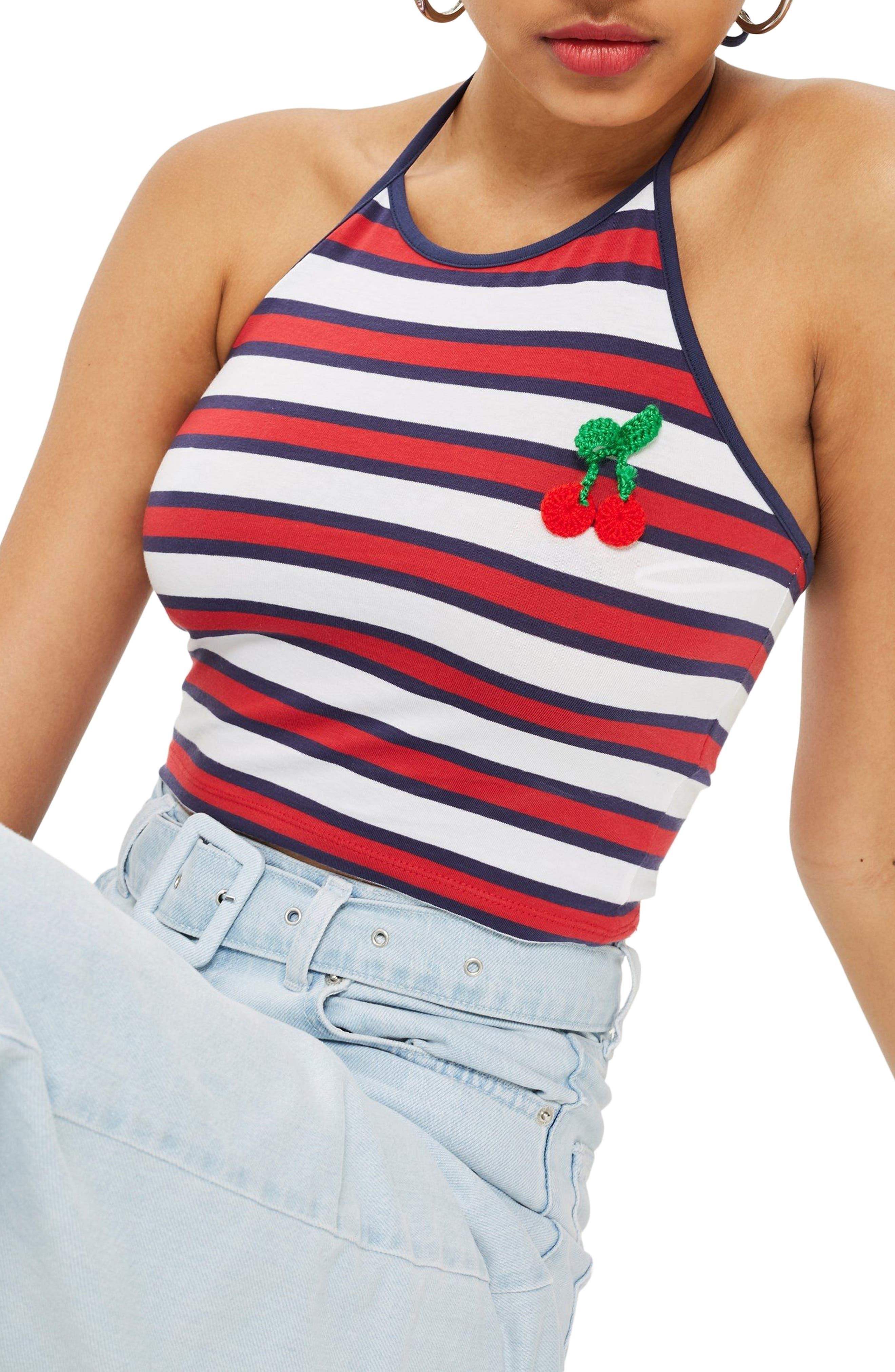 Cherry Embroidered Stripe Halter Top,                         Main,                         color, Navy Blue Multi